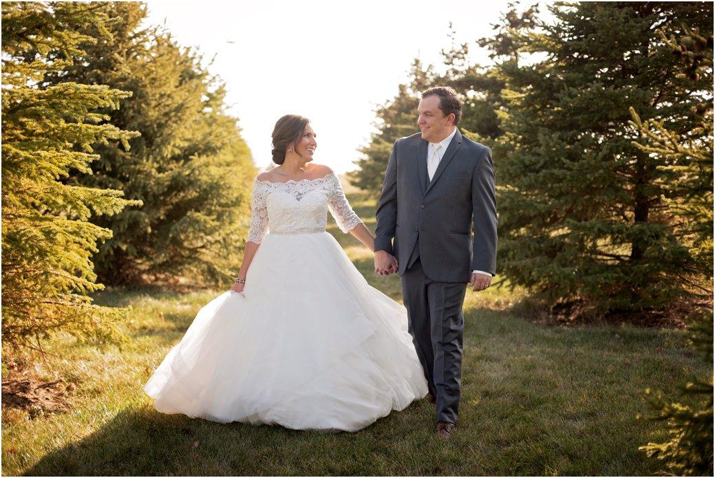 bride and groom walking on wedding day