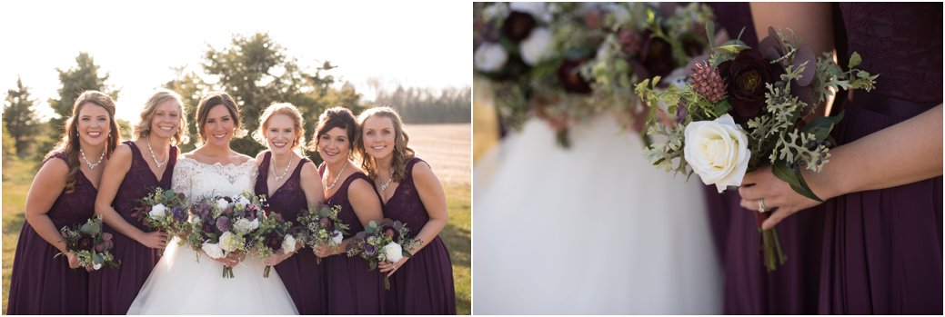 plum bridesmaid gowns with silk florals