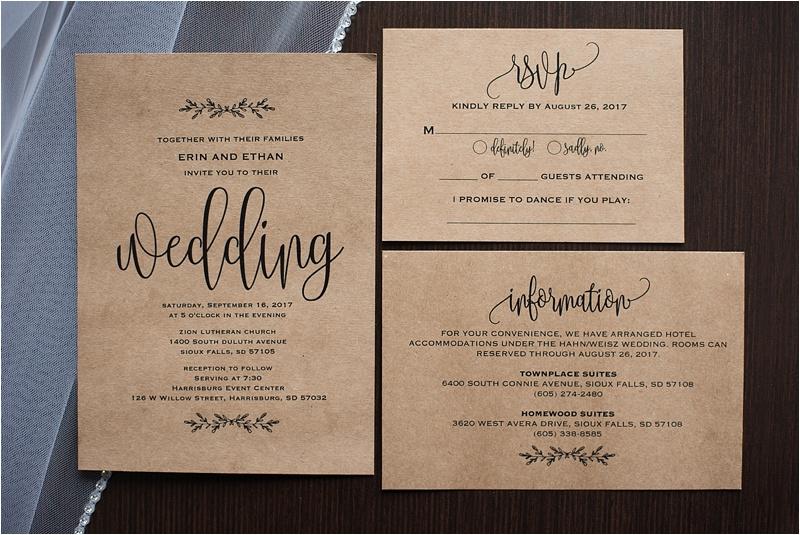 kraft paper wedding invitation suite