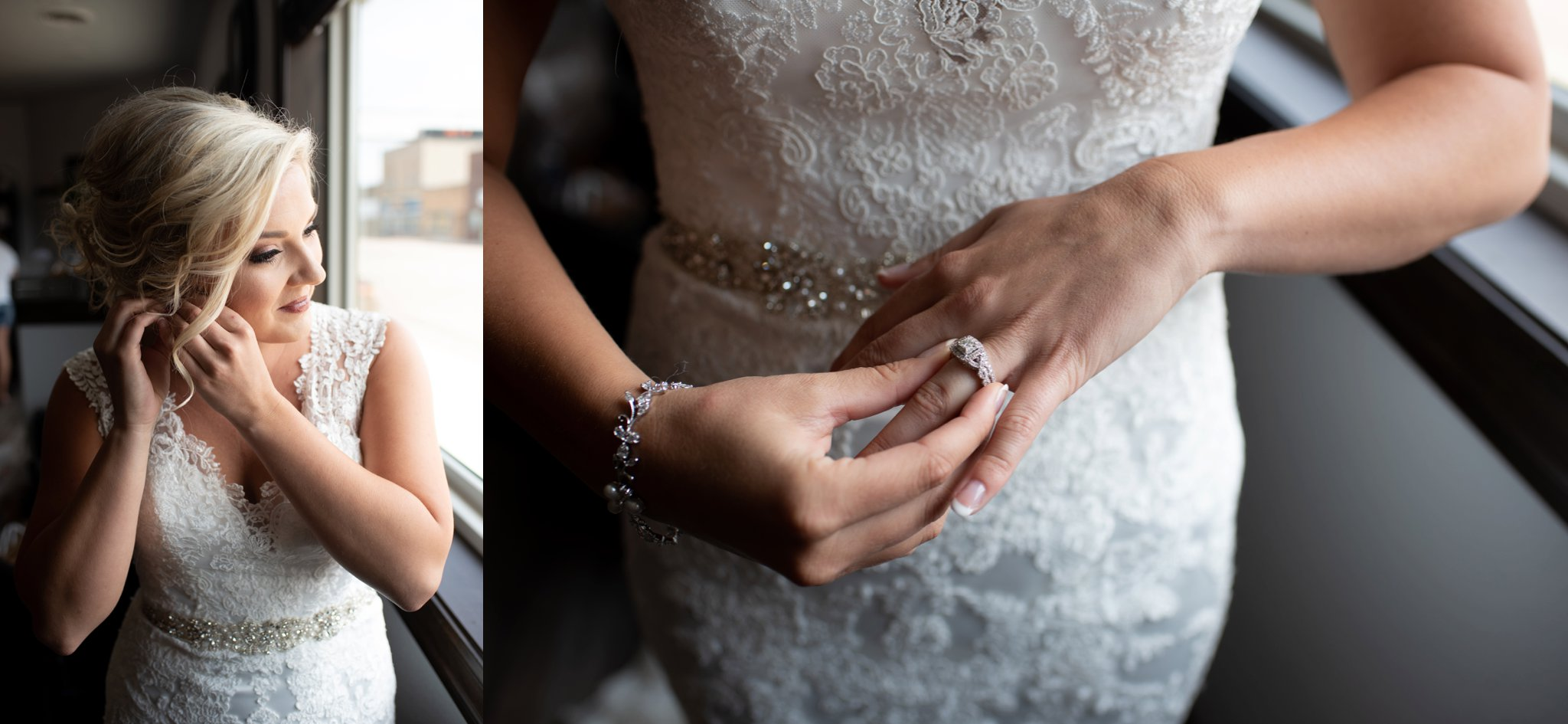 bride puts on wedding ring and earrings