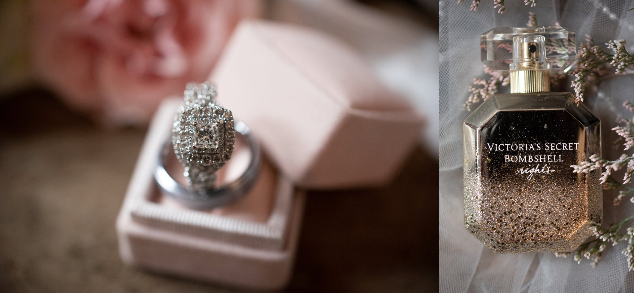 blush and champagne wedding box with white gold wedding ring set