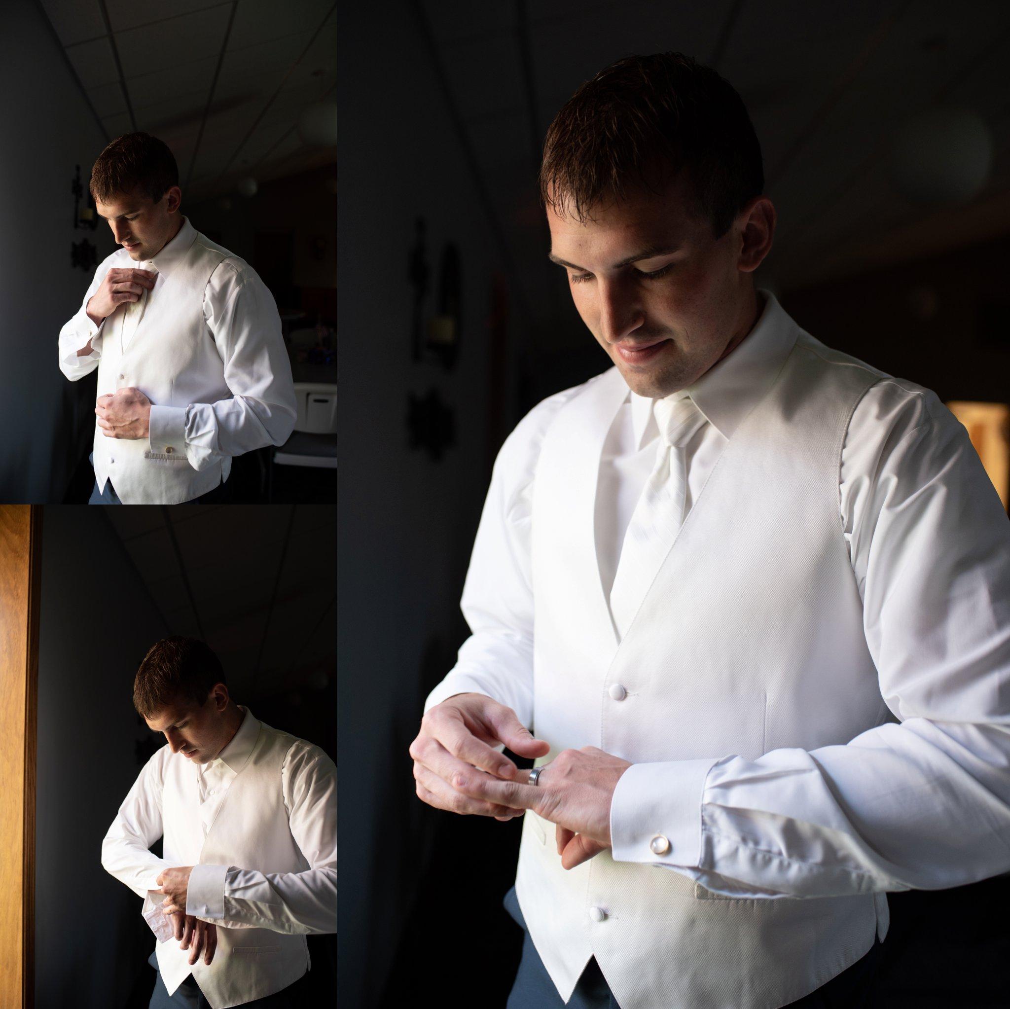ivory three piece groom's suit