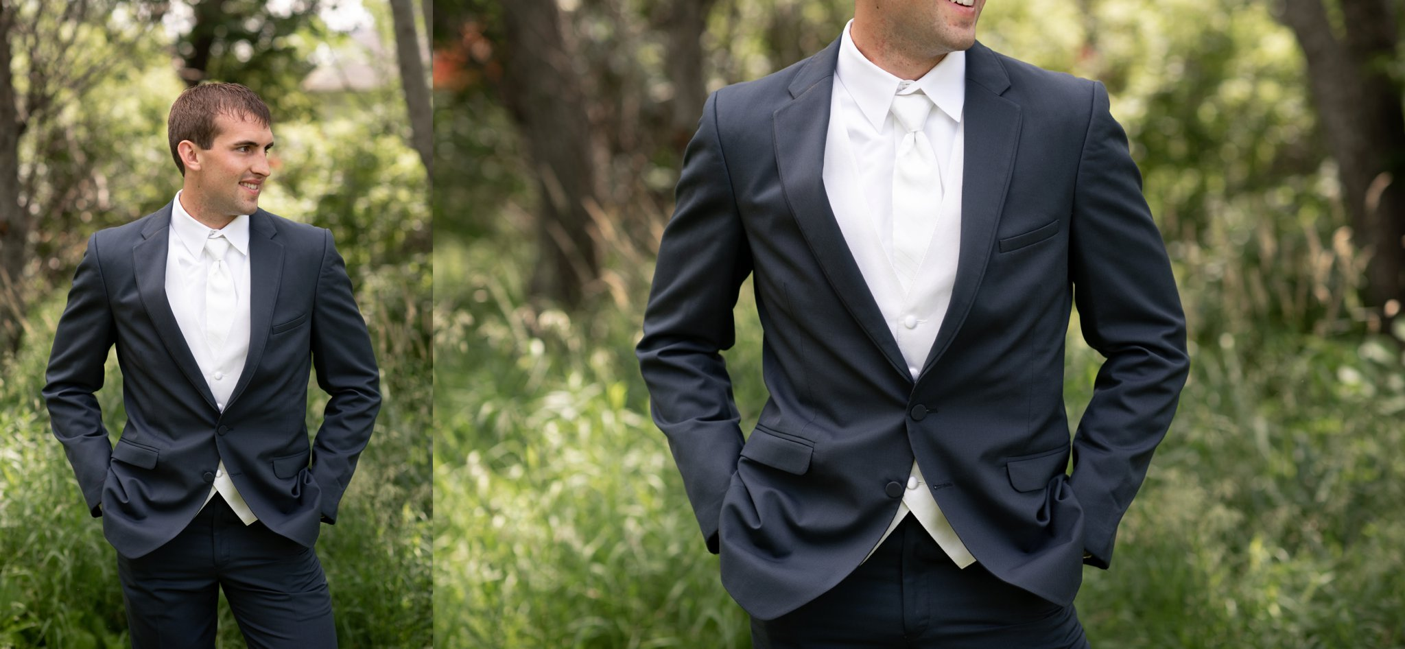 slate three piece suit with ivory tie and vest
