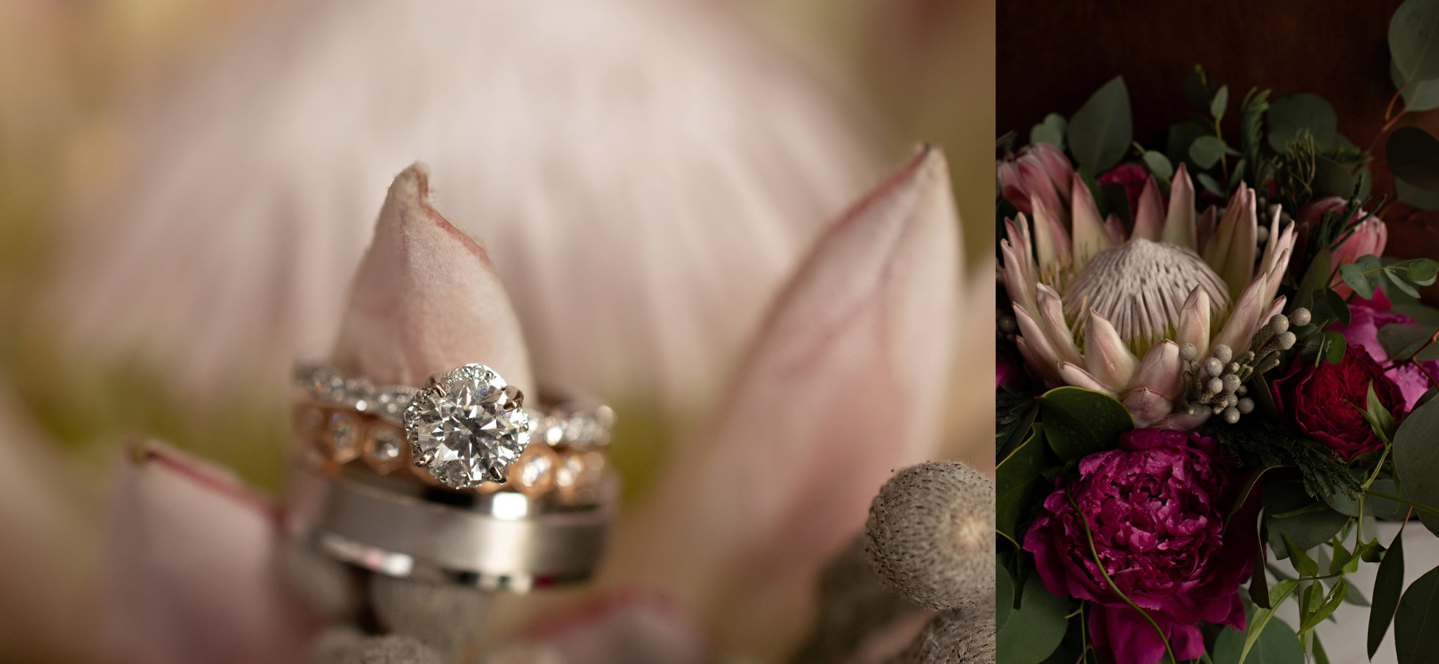 mixed metal wedding ring trio
