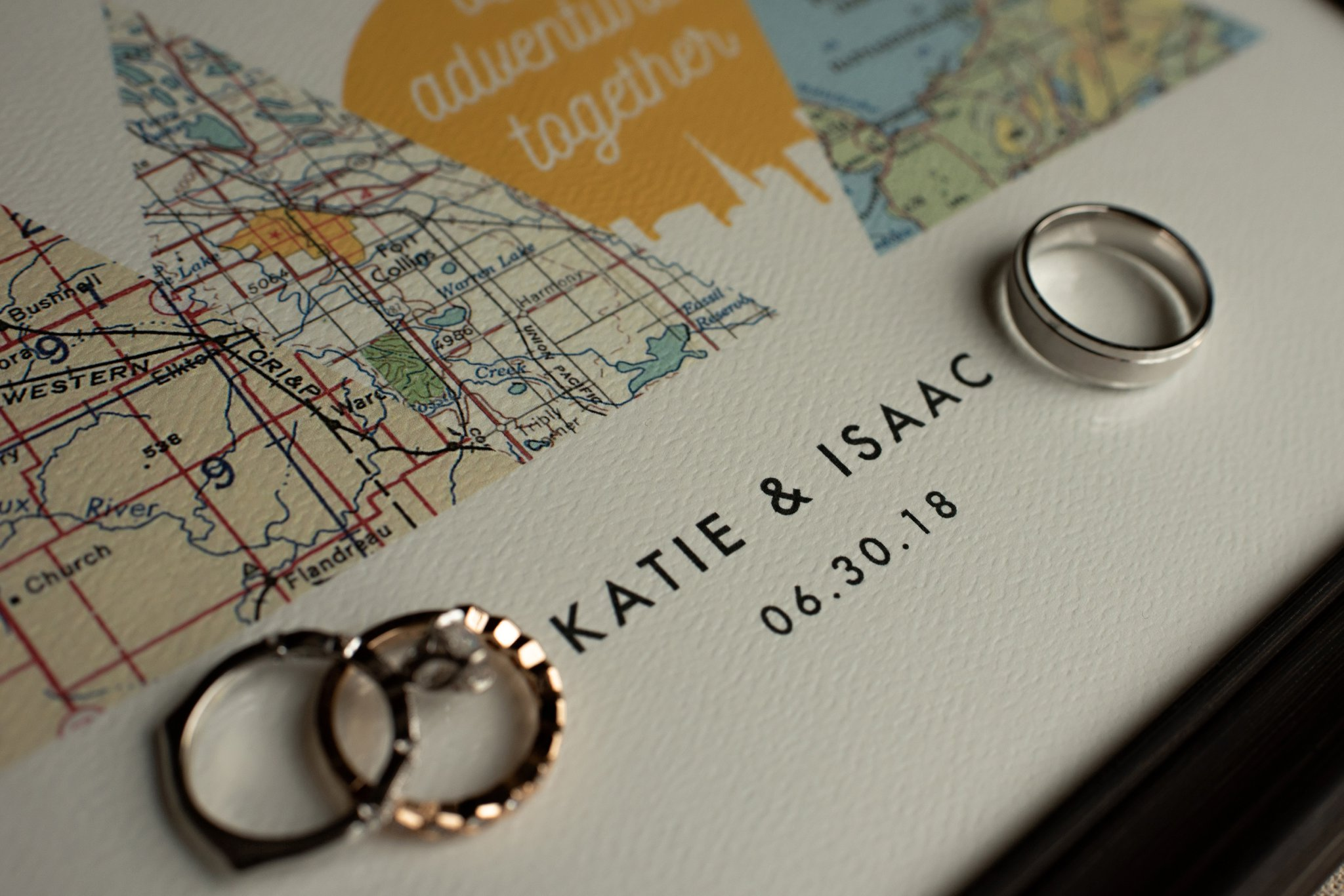 wedding rings on personalized map gift