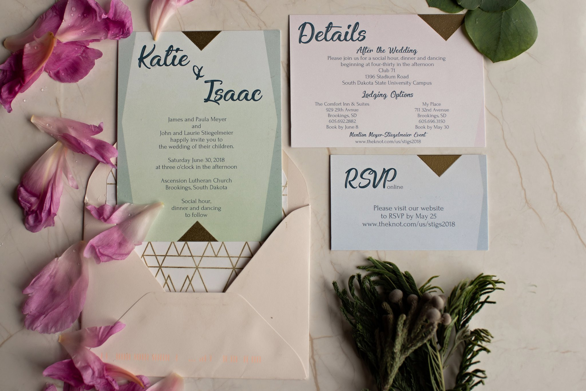 mint boho chic wedding invitation suite