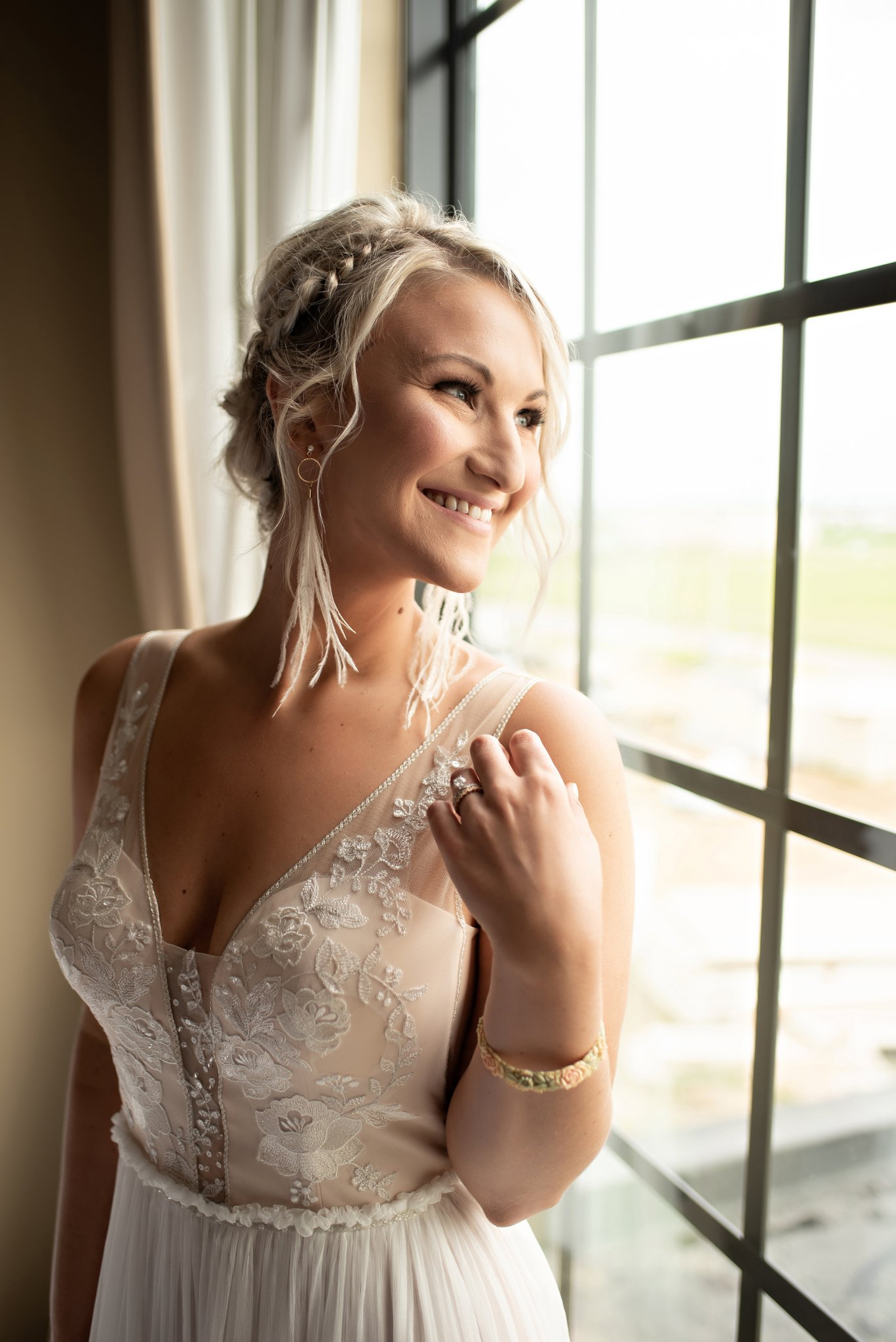 bride poses for portrait