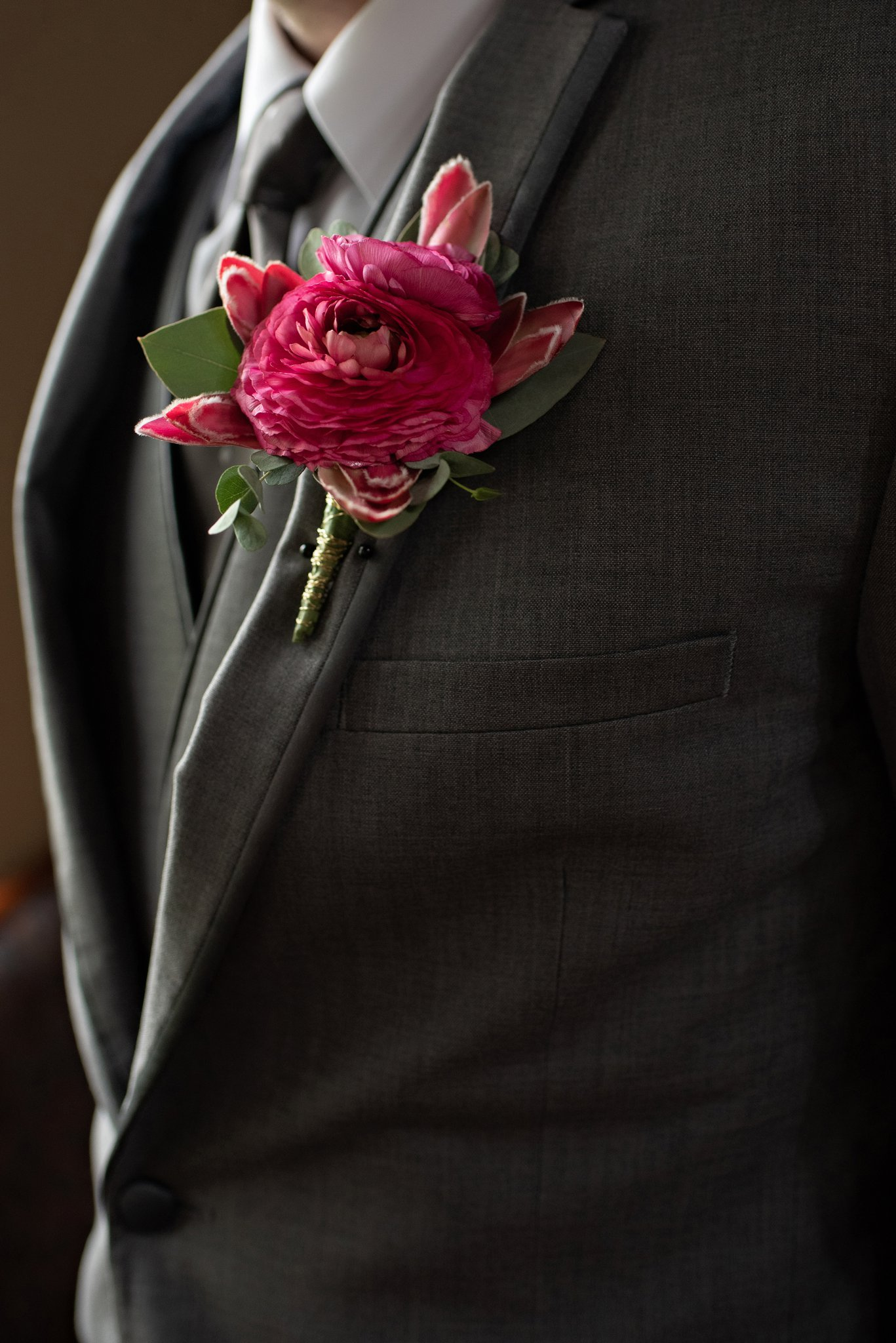 dahlia corsage for groom
