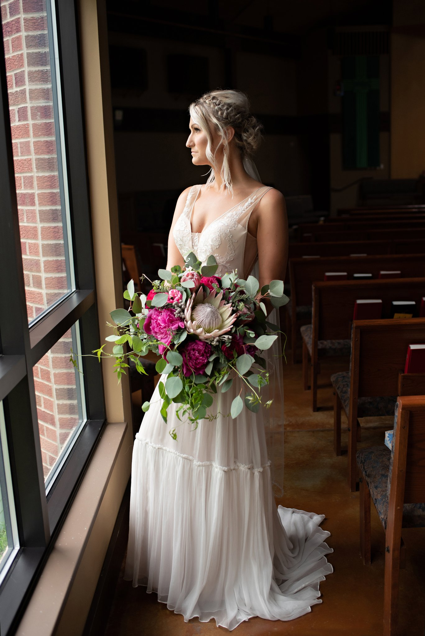 indoor portraits of the bride