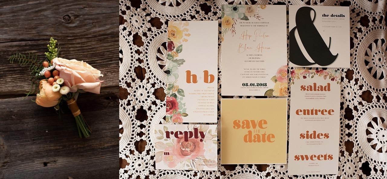 vintage modern 70s wedding invitations