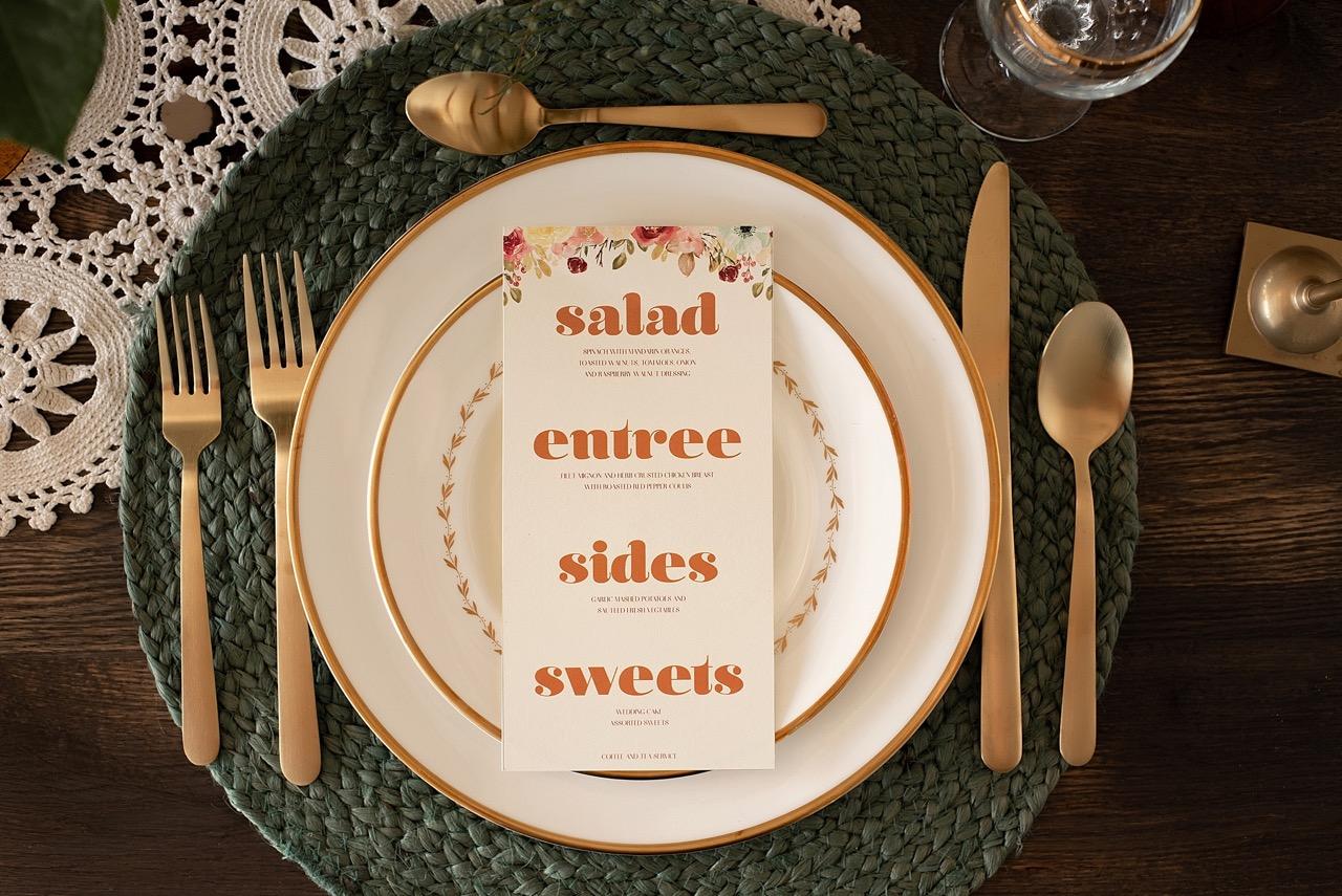 groovy 70s theme wedding menu card