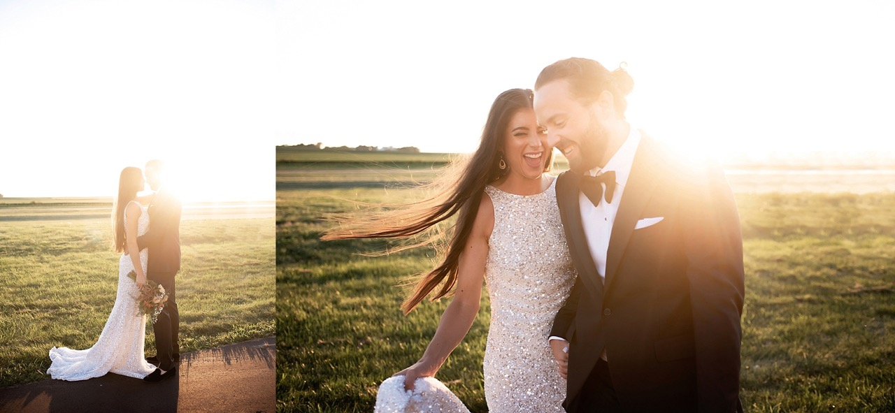 modern 70s disco inspired wedding dress with bow tie tux