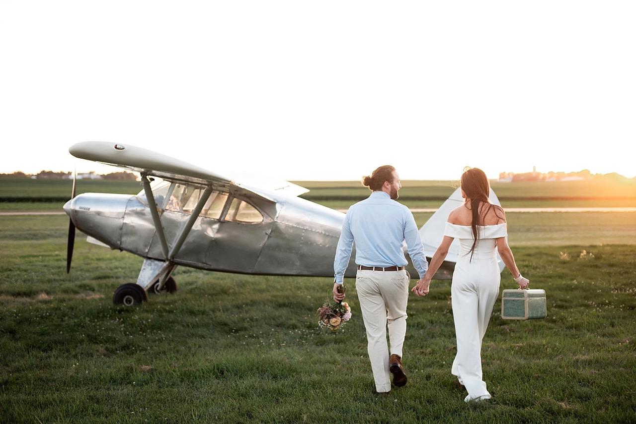 piper airplane inspired wedding shoot