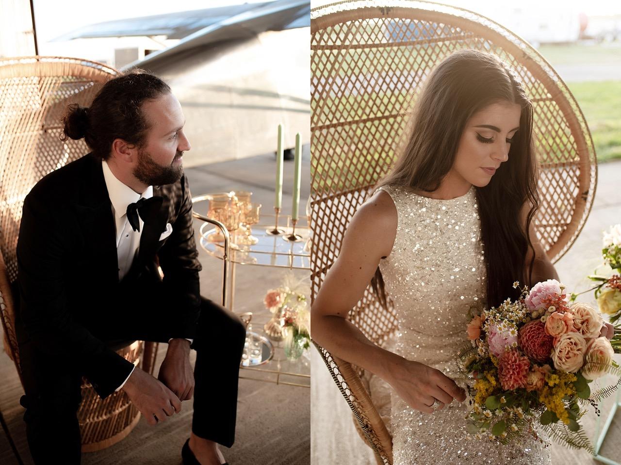 modern 70s themed wedding styled shoot