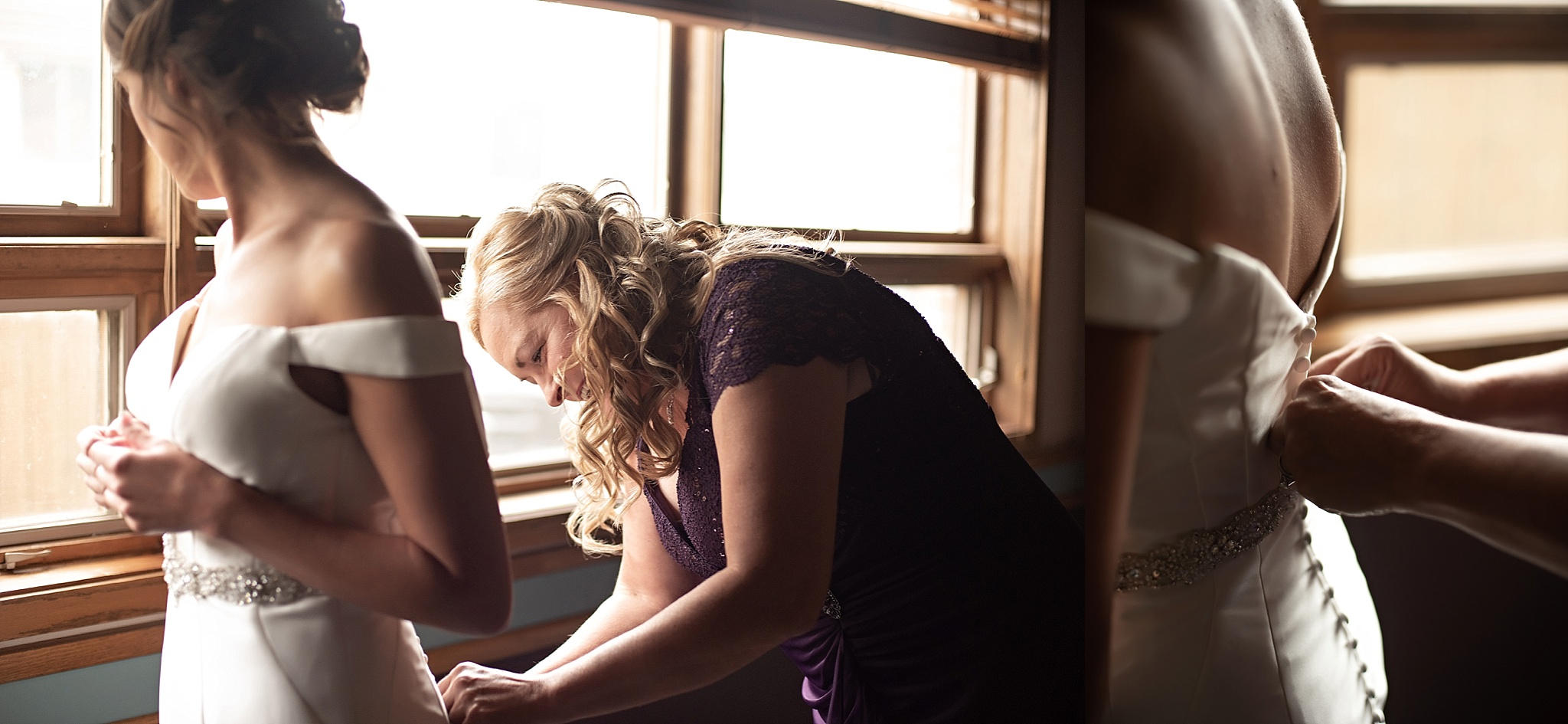 mom helps daughter button her wedding dress