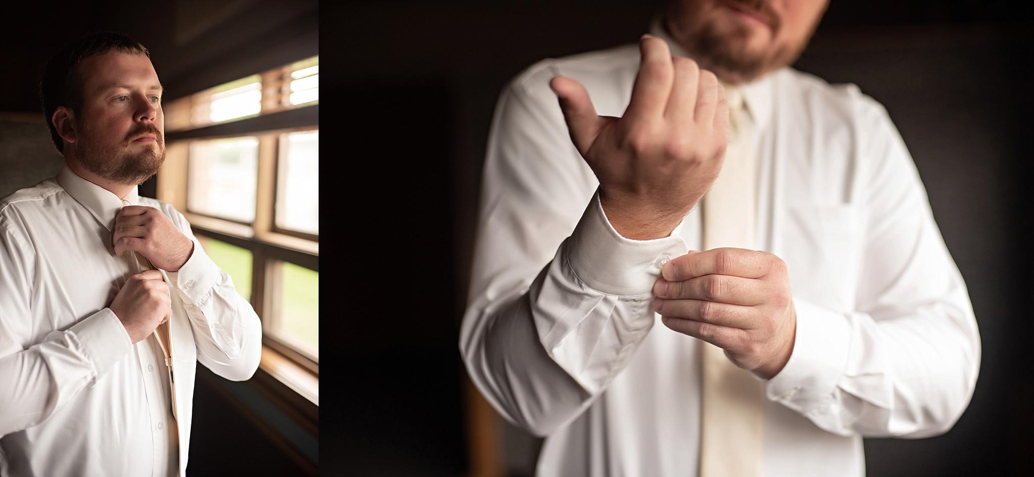 ivory tie on groom suit