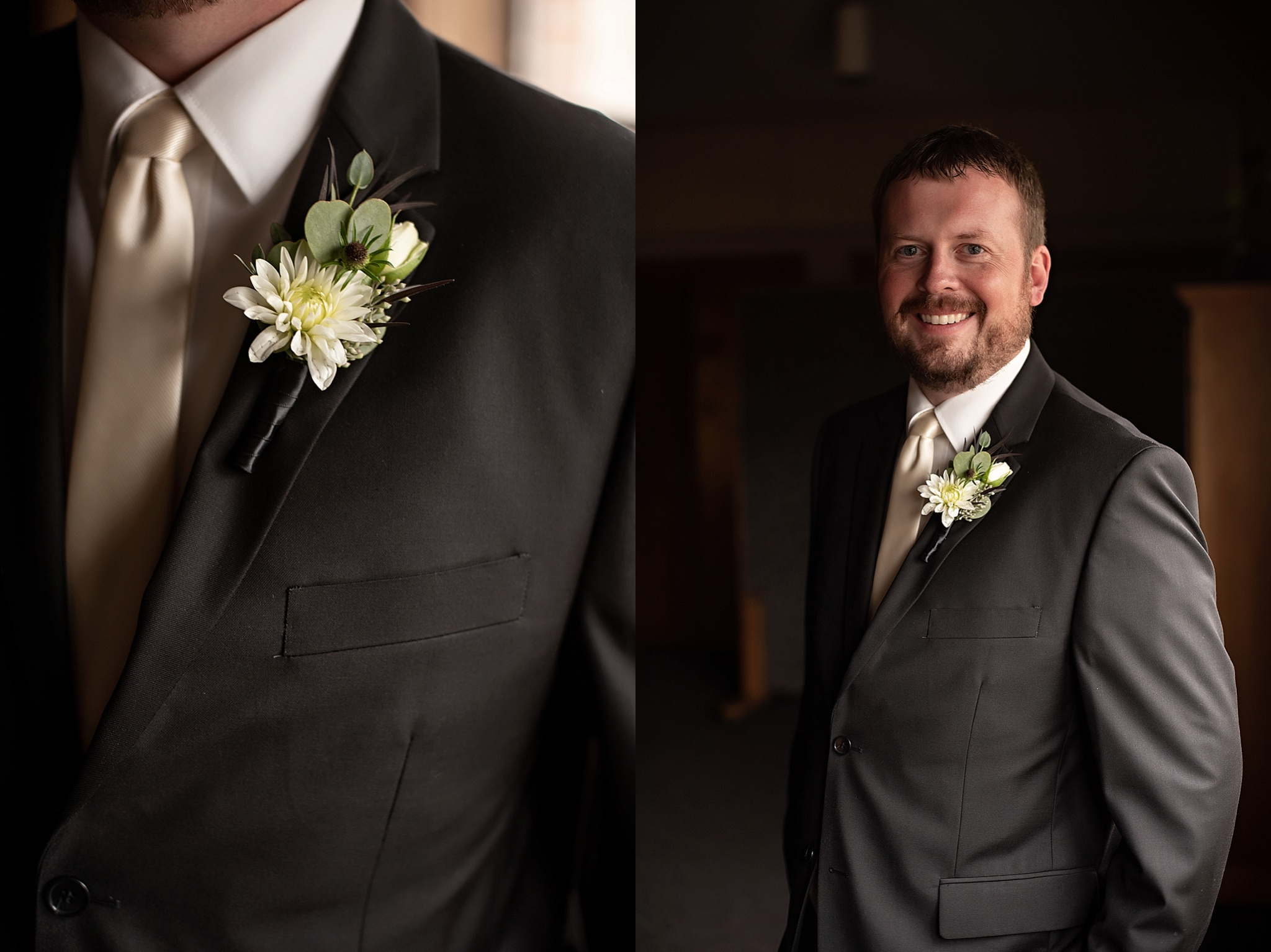 ivory tie with off white boutonniere