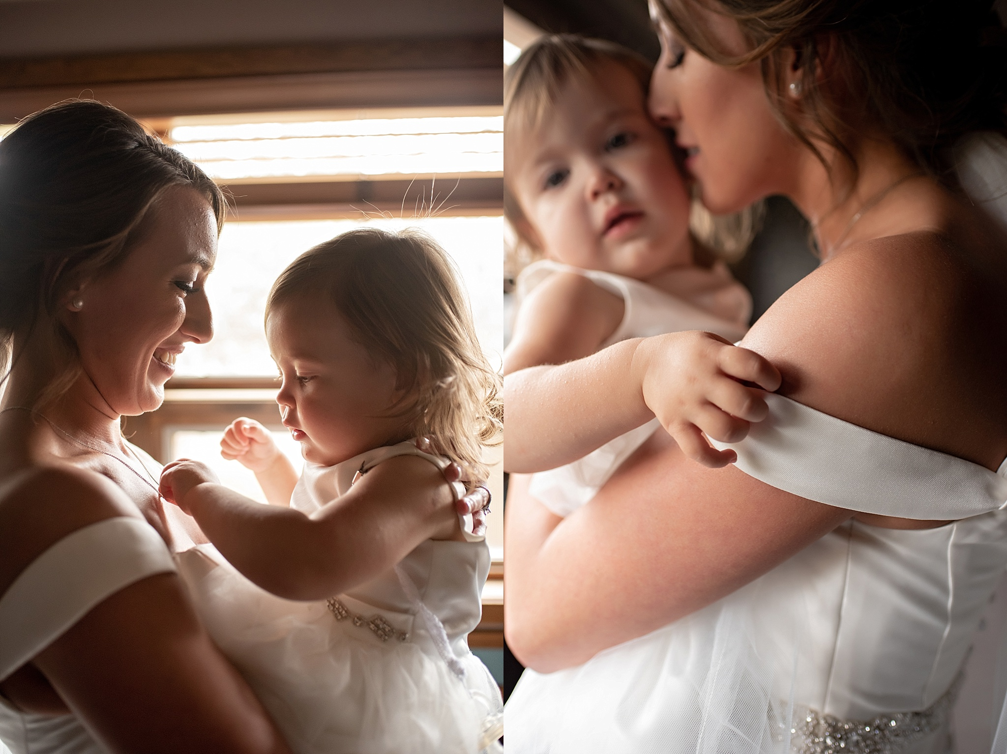 bride mother and flower girl daughter