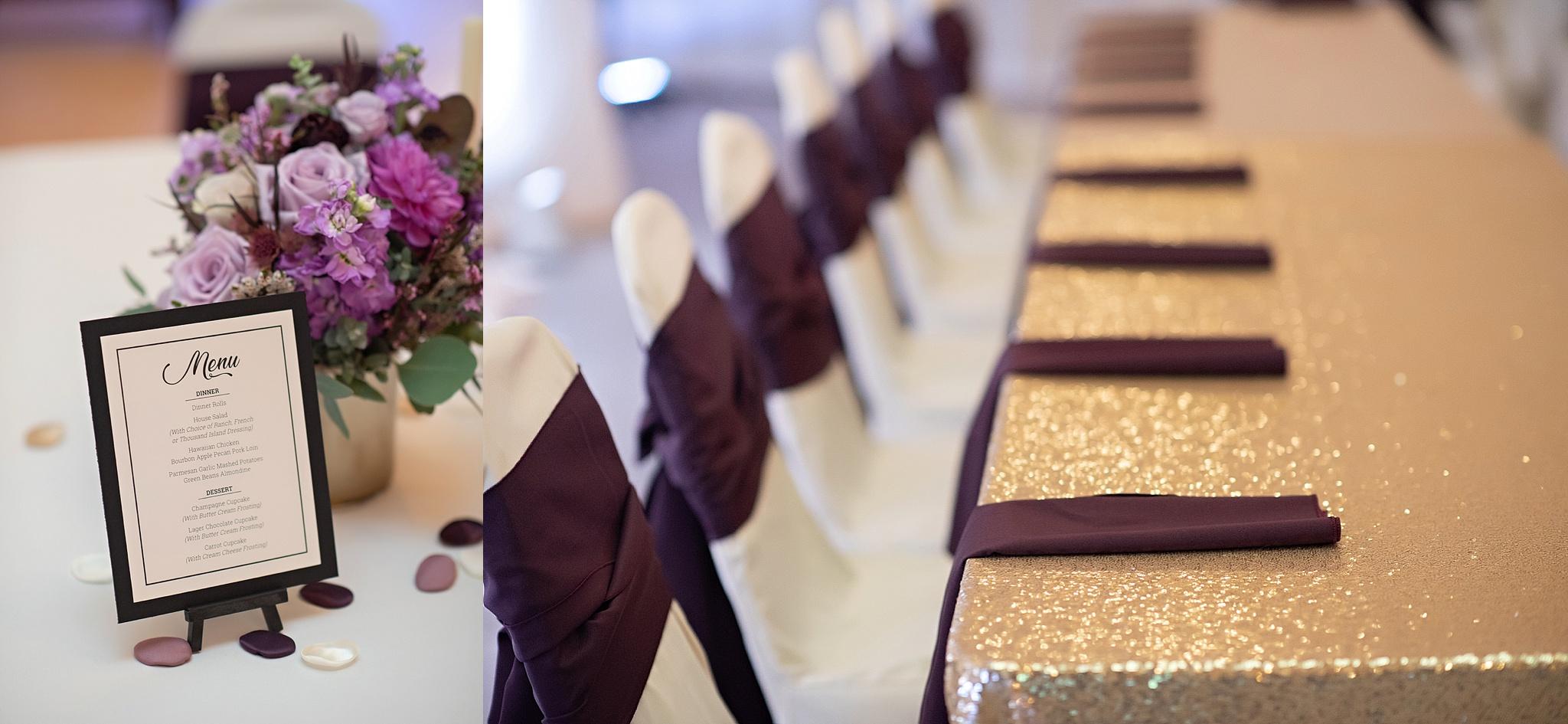 plum linens and lavender centerpiece