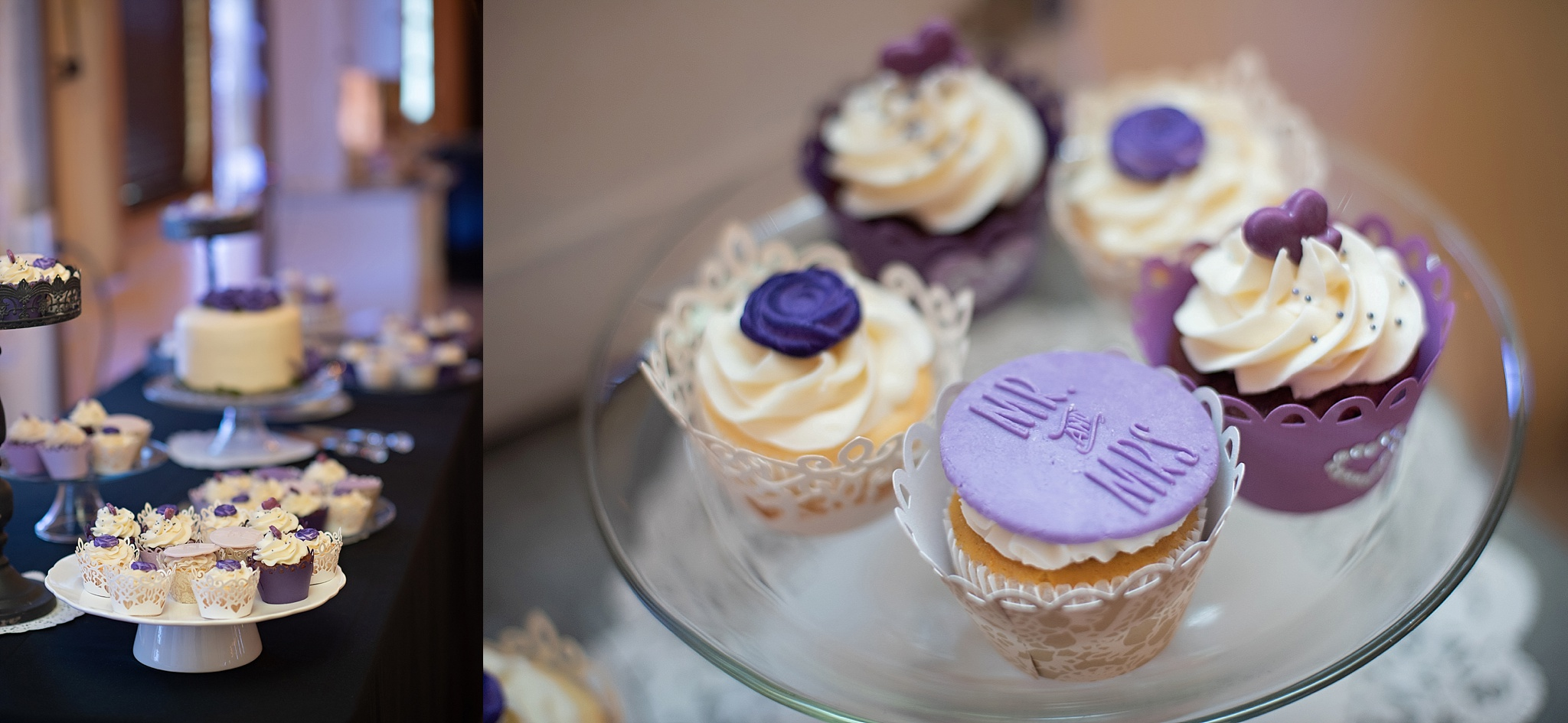 purple accent wedding cake and cupcakes