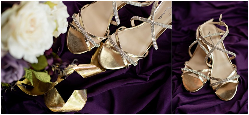 gold and purple wedding shoes details