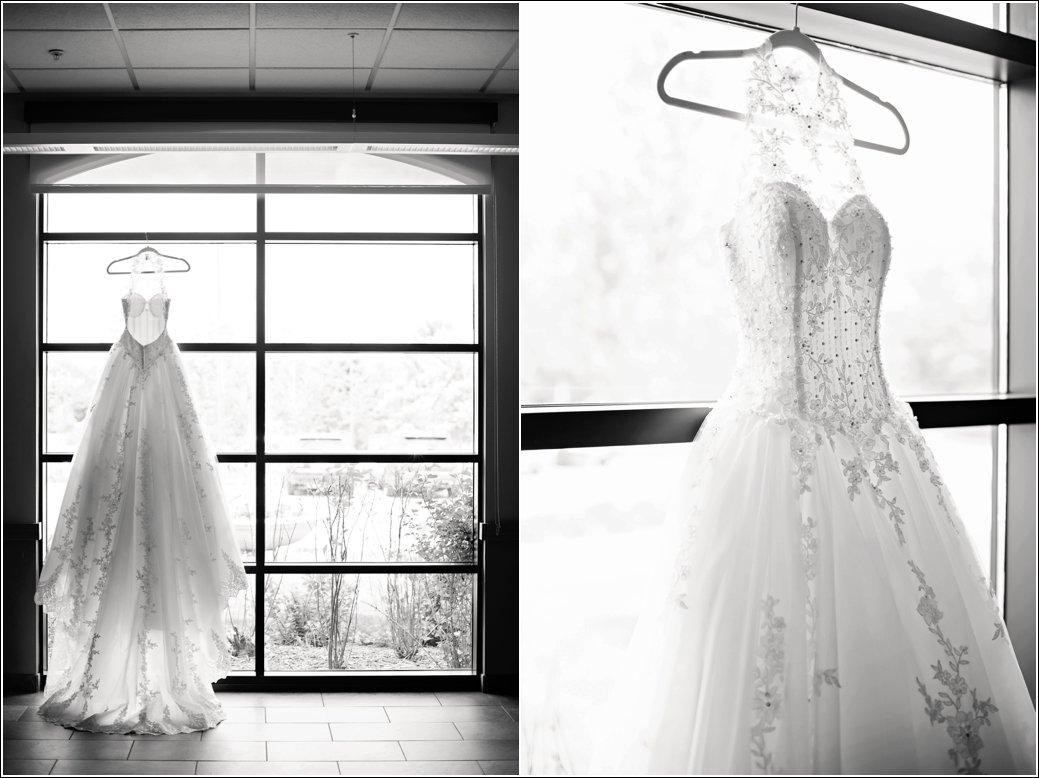 high neck beaded ballgown wedding dress