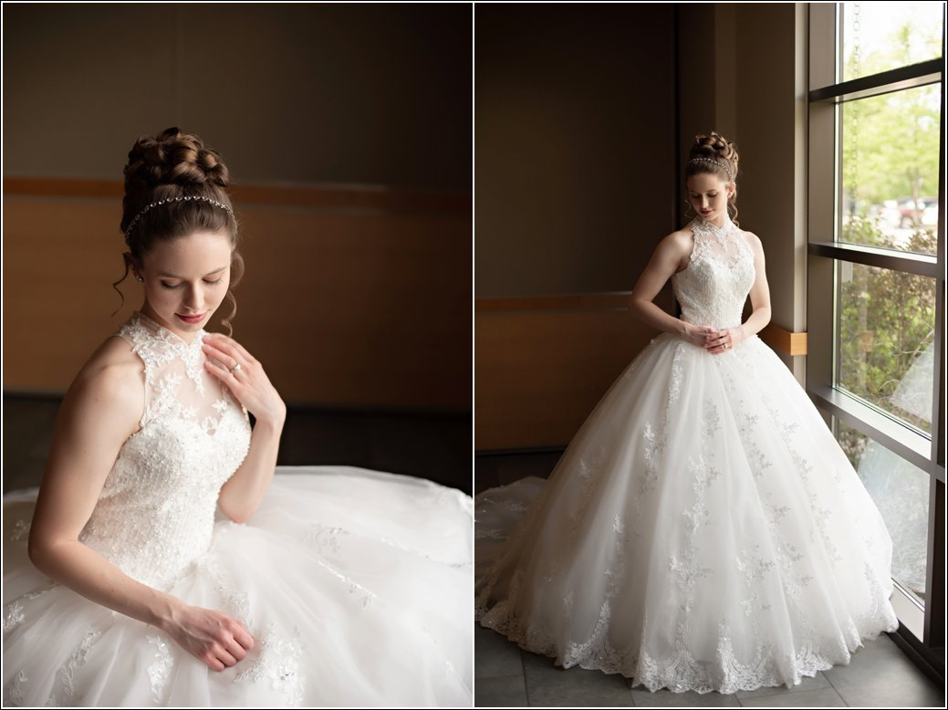 high neck ball gown wedding dress sleeveless