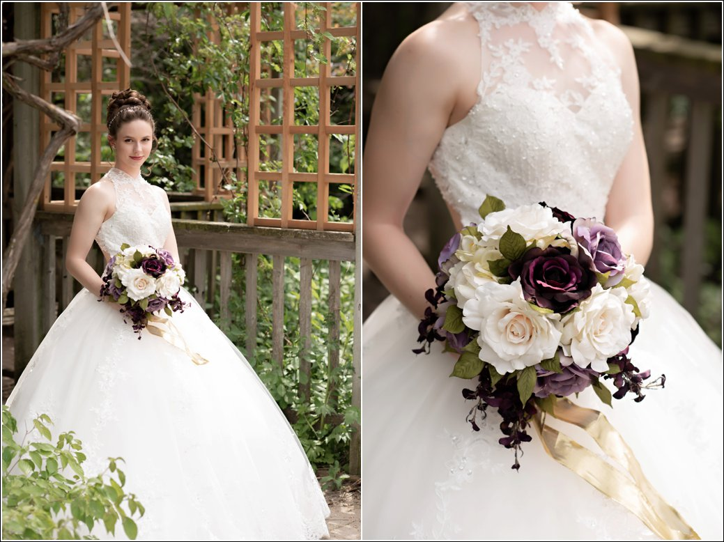 ballgown wedding dress with purple floral bouquet