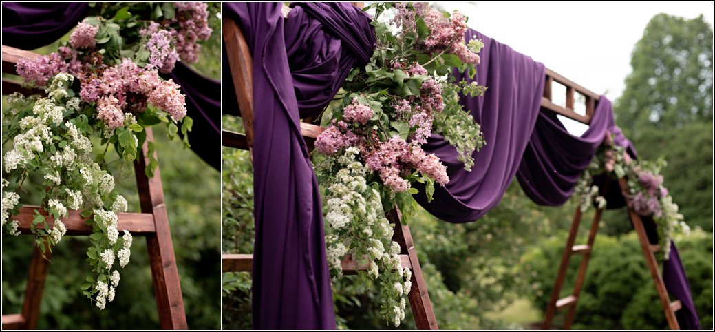 lilac wedding arch eggplant purple