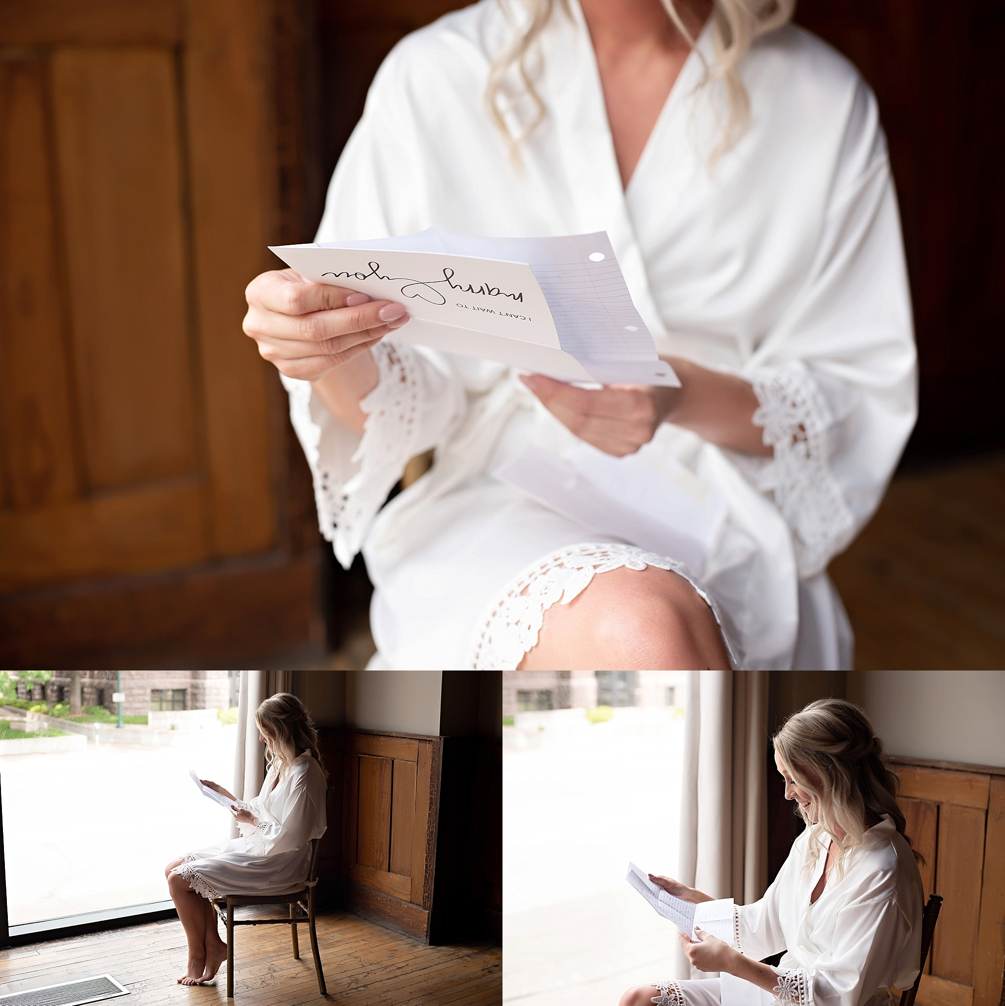 bride in custom white robe reading a letter from the groom icon events sioux falls