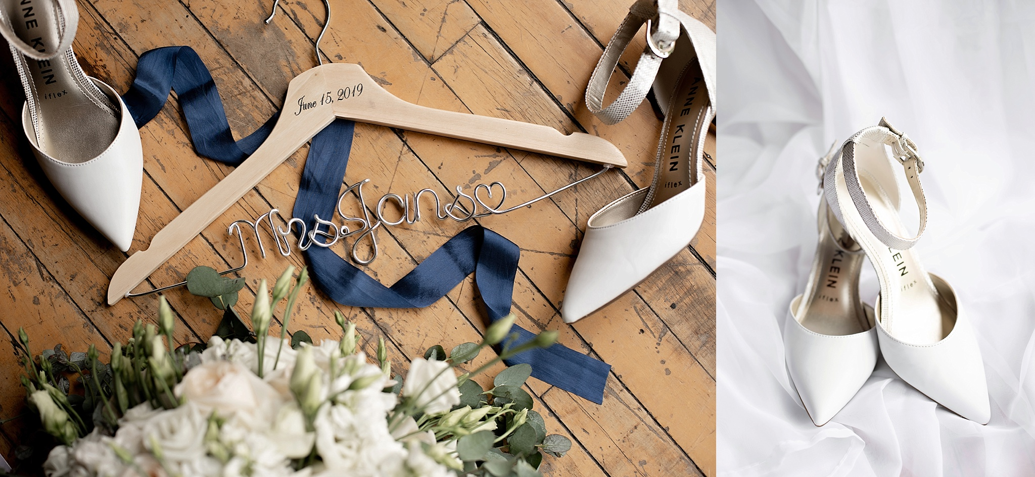 custom name hangar with white florals and white wedding shoes anne klein