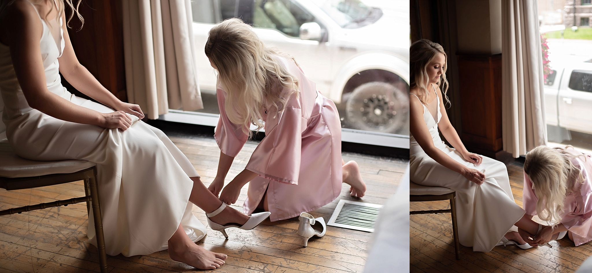 maid of honor helps bride put her shoes on