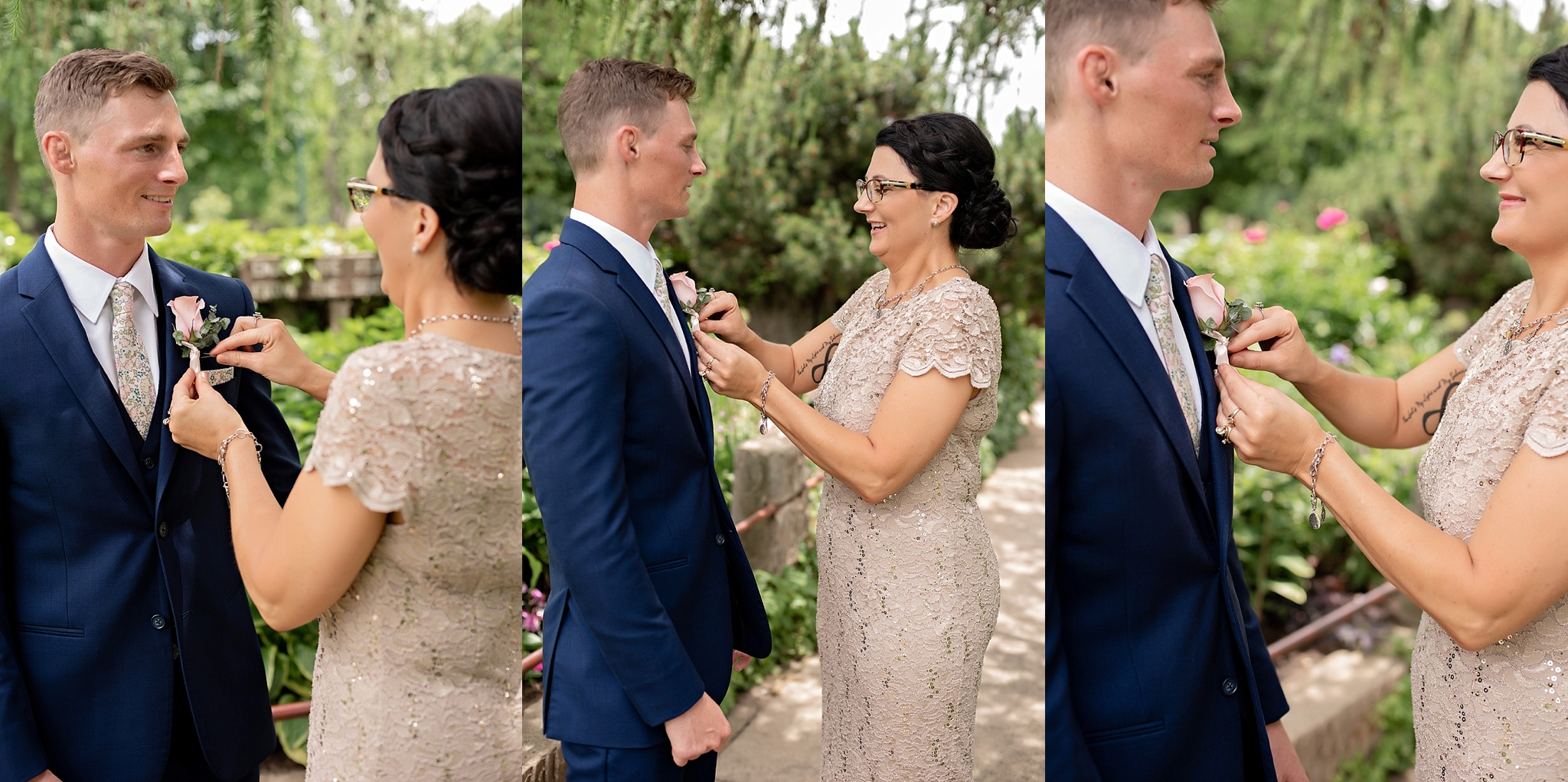 mother of the groom pins on his blush rose boutonniere garden park wedding
