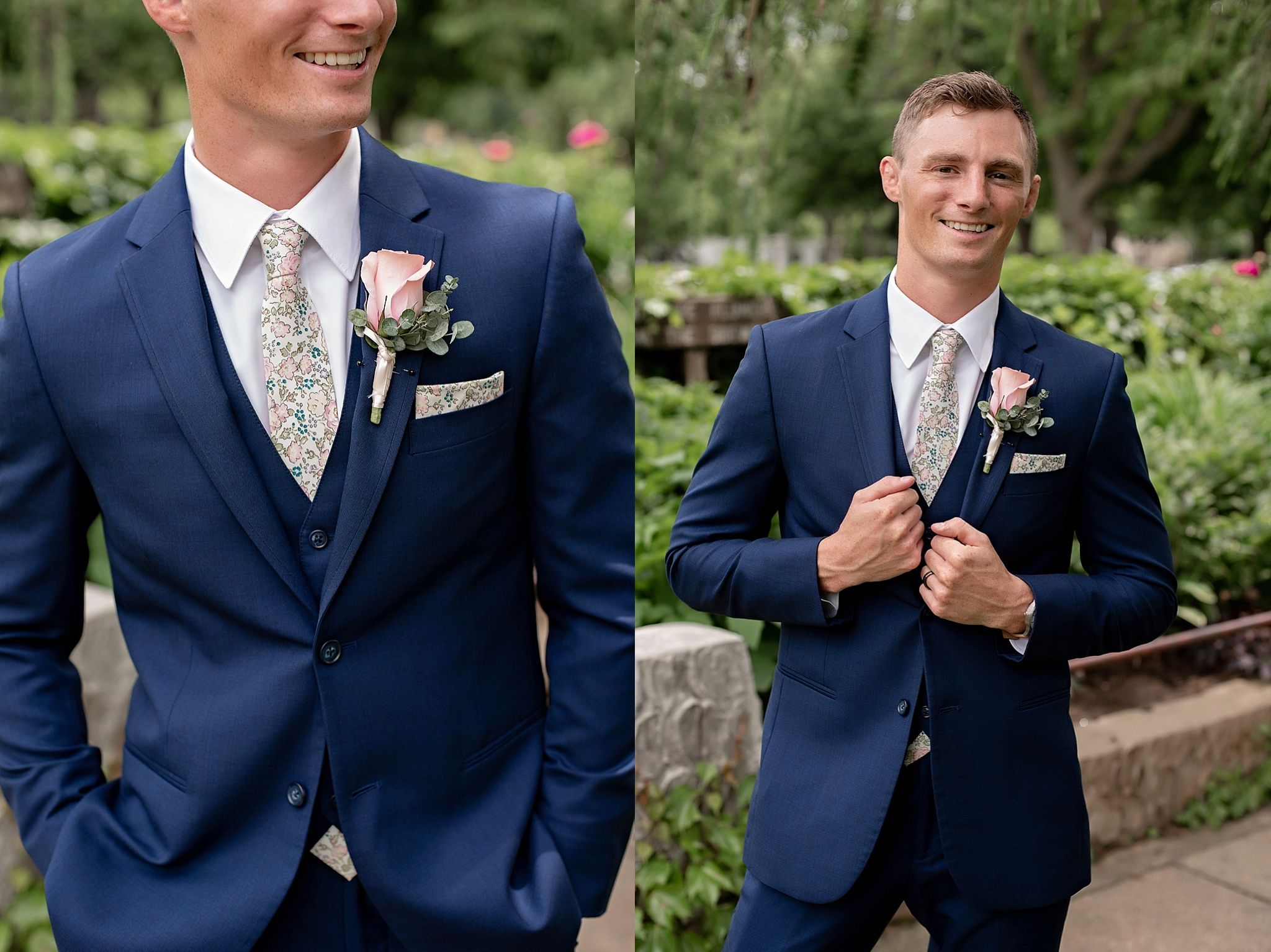groom style sioux falls south dakota mckennan park navy tux with floral tie