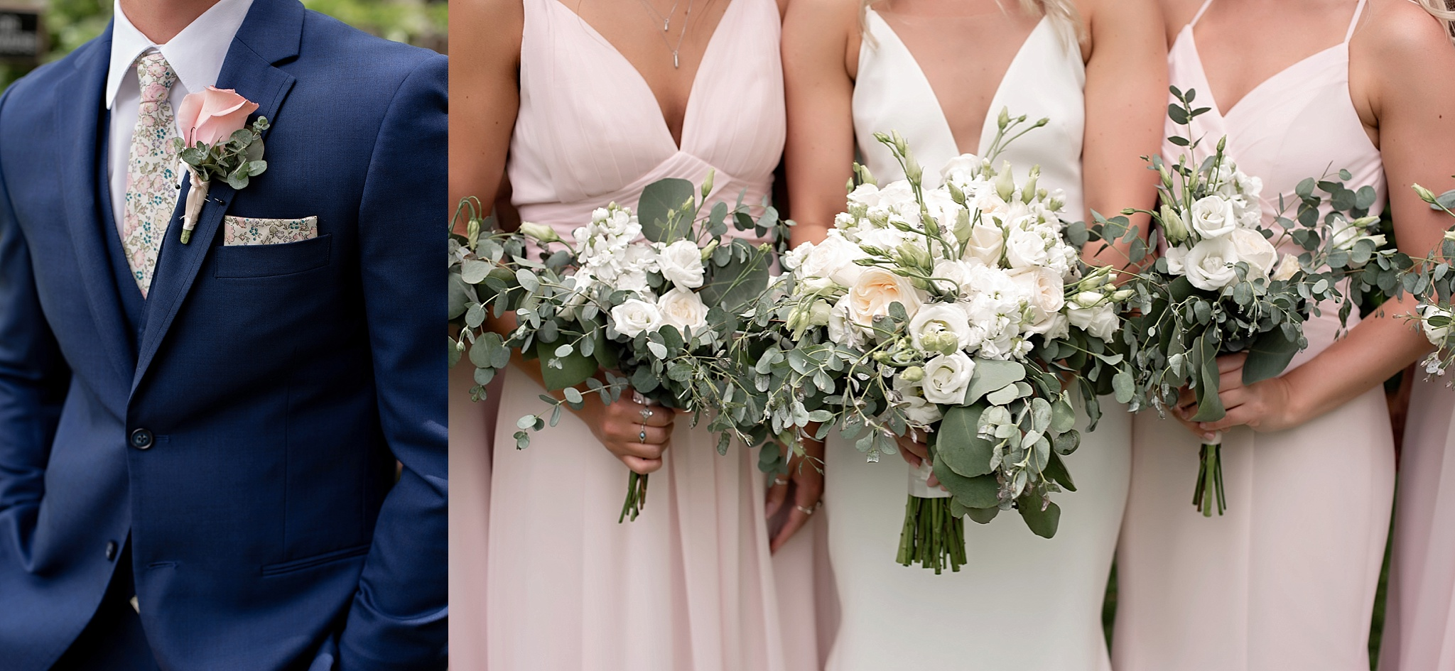 bridal details blush white and navy blue with white florals and eucalyptus greenery the flower mill sioux falls sd