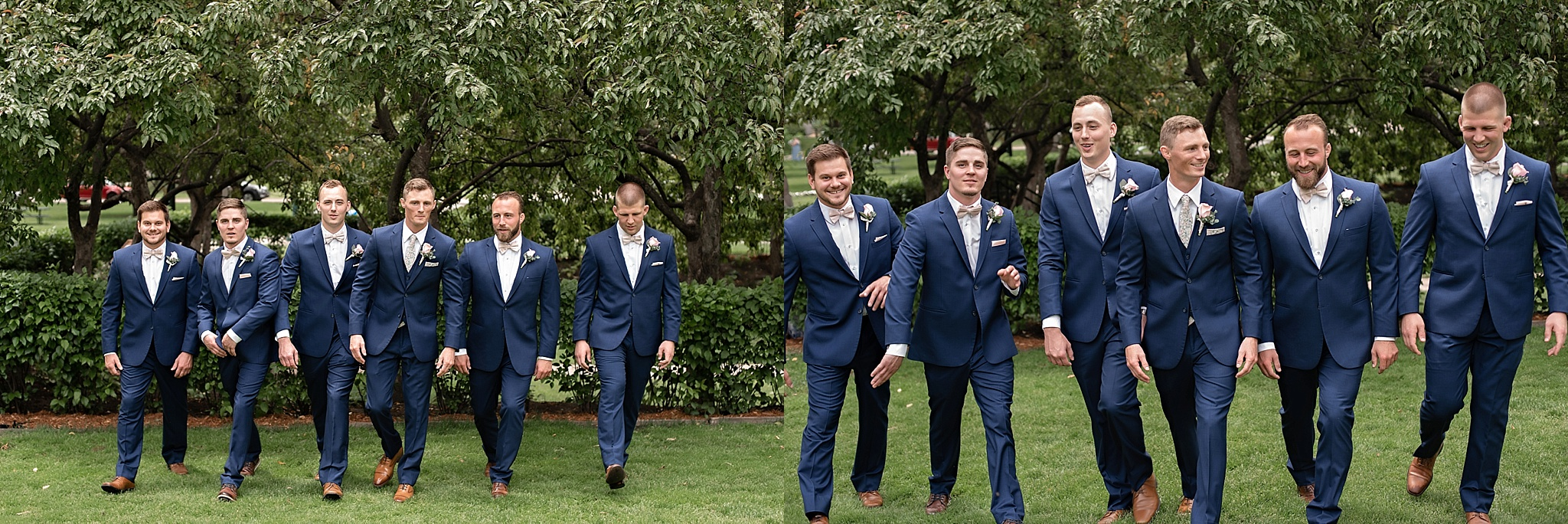 groomsman style navy tux with blush tie