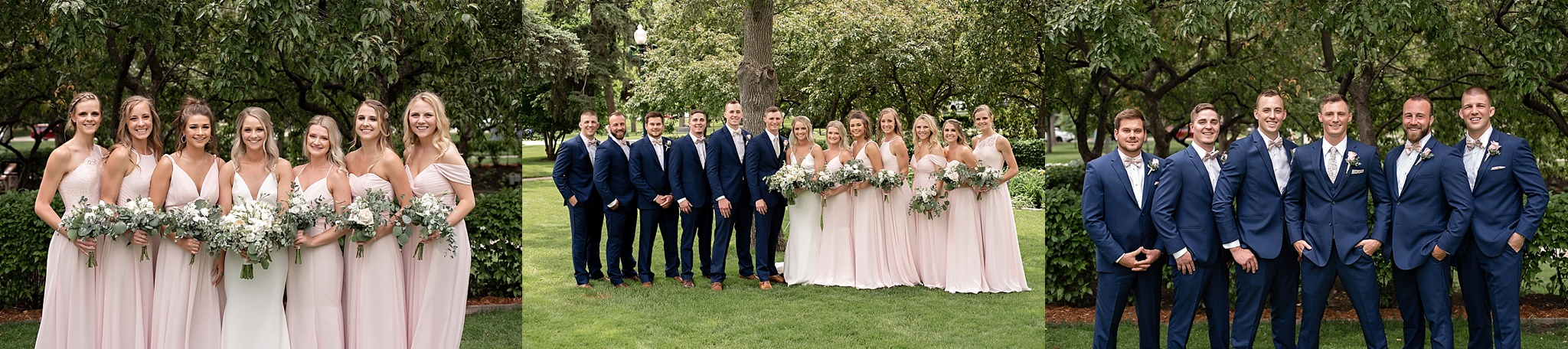 wedding party at garden wedding in south dakota blue suits with blush bridesmaids dresses