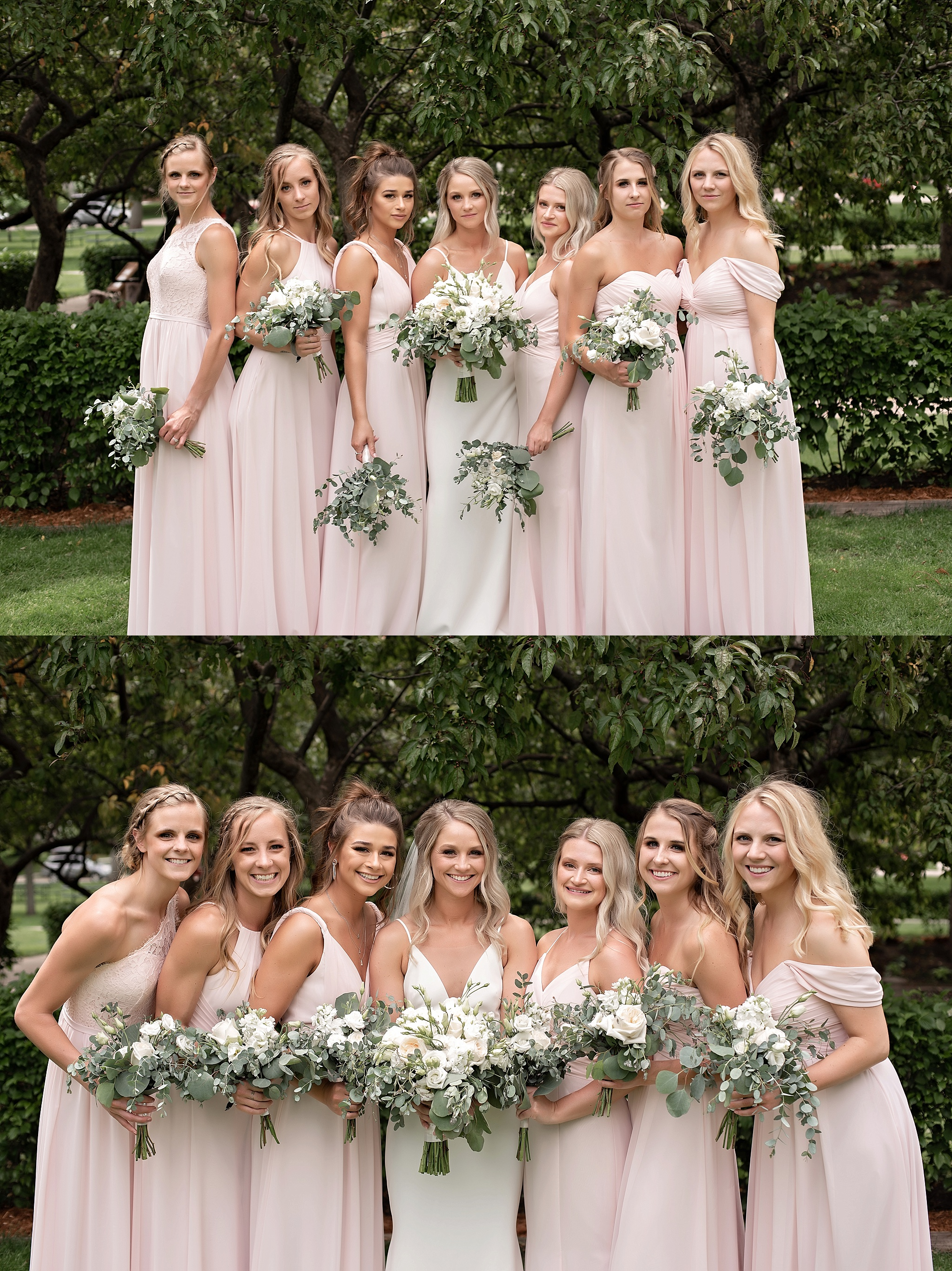 bridesmaid styles blush floor length dresses with the flower mill white florals