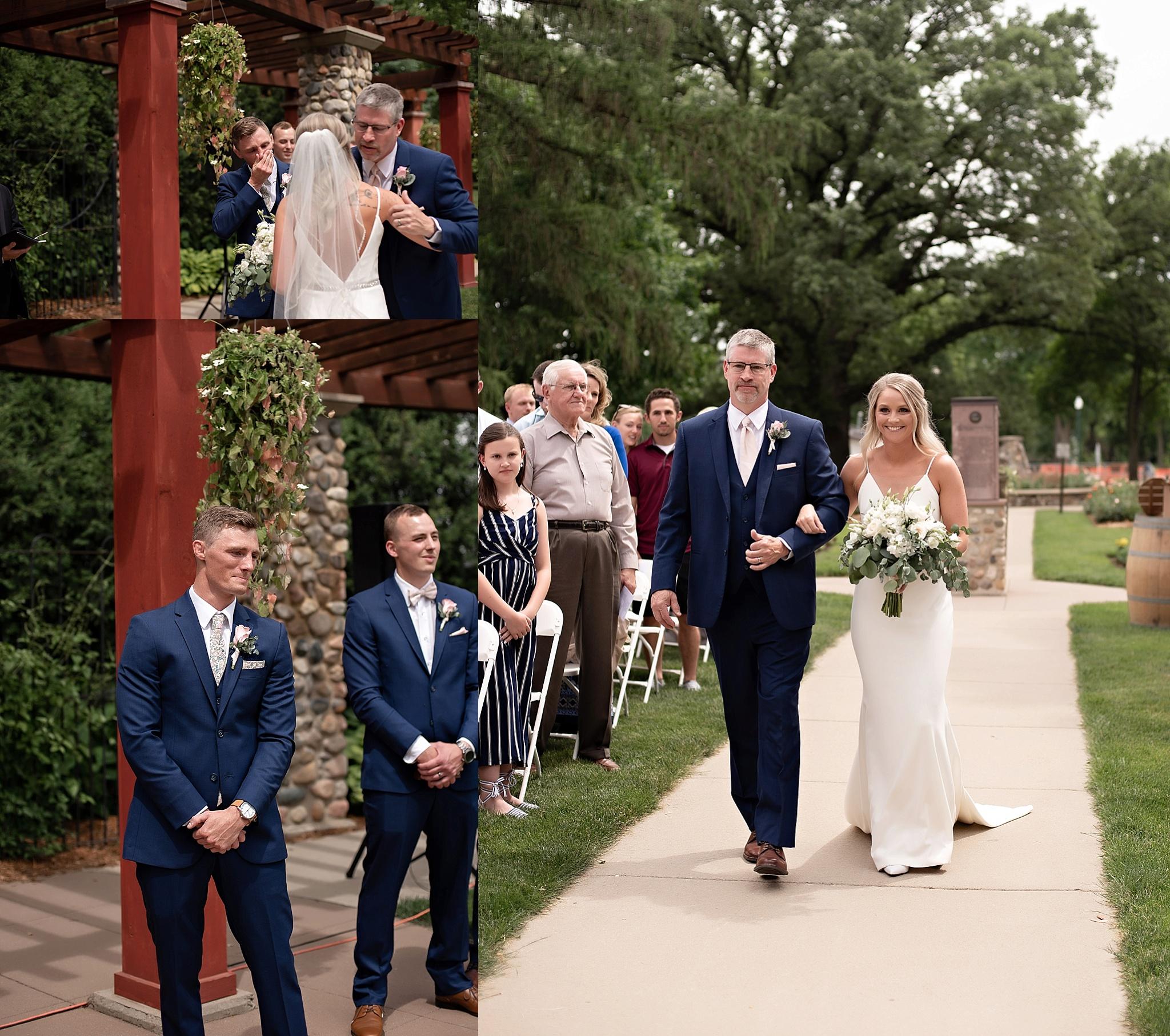 bride walks down the aisle garden park wedding sioux falls sd