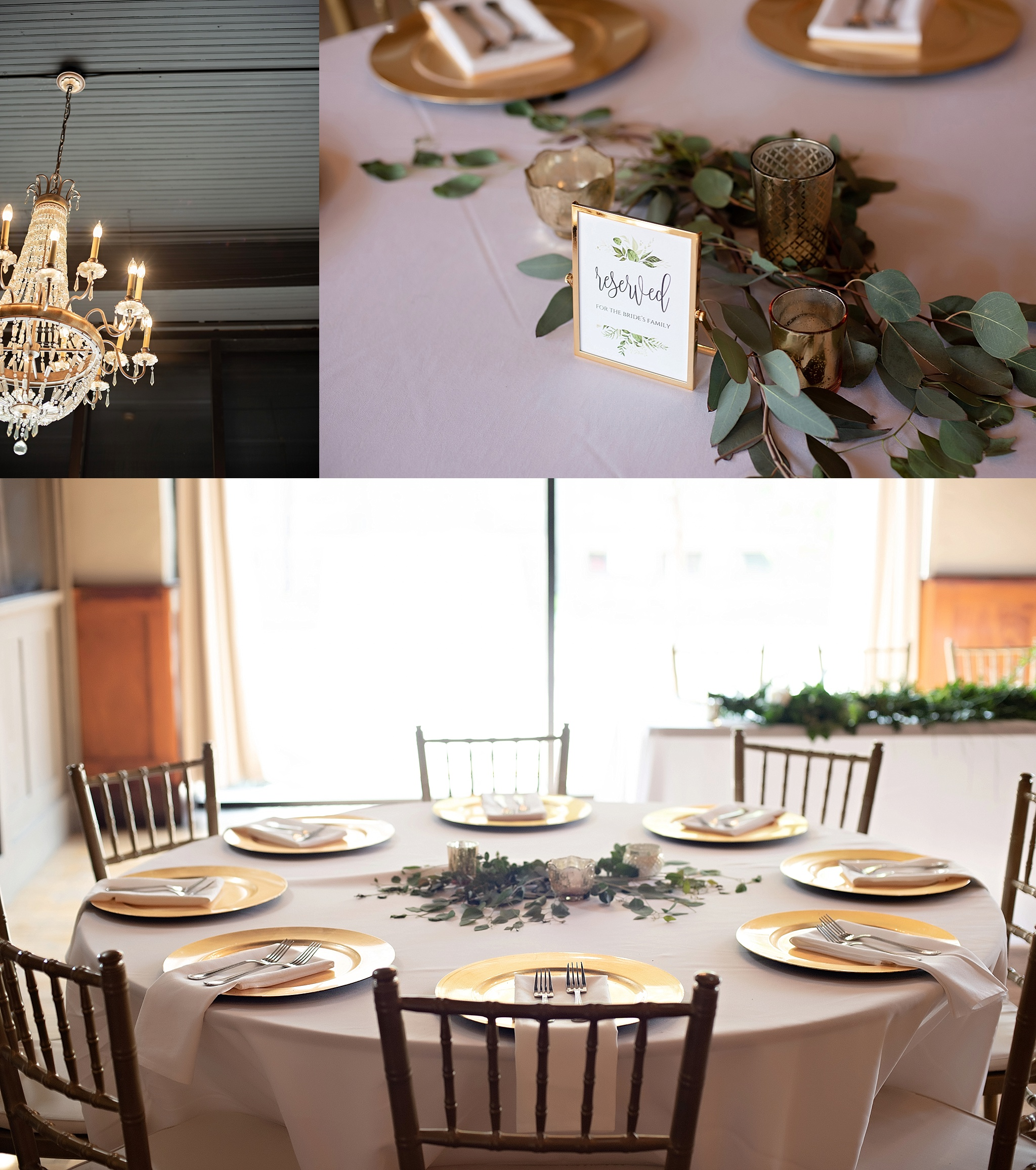 gold and white eucalyptus leaves wedding reception decor icon events sioux falls south dakota downtown