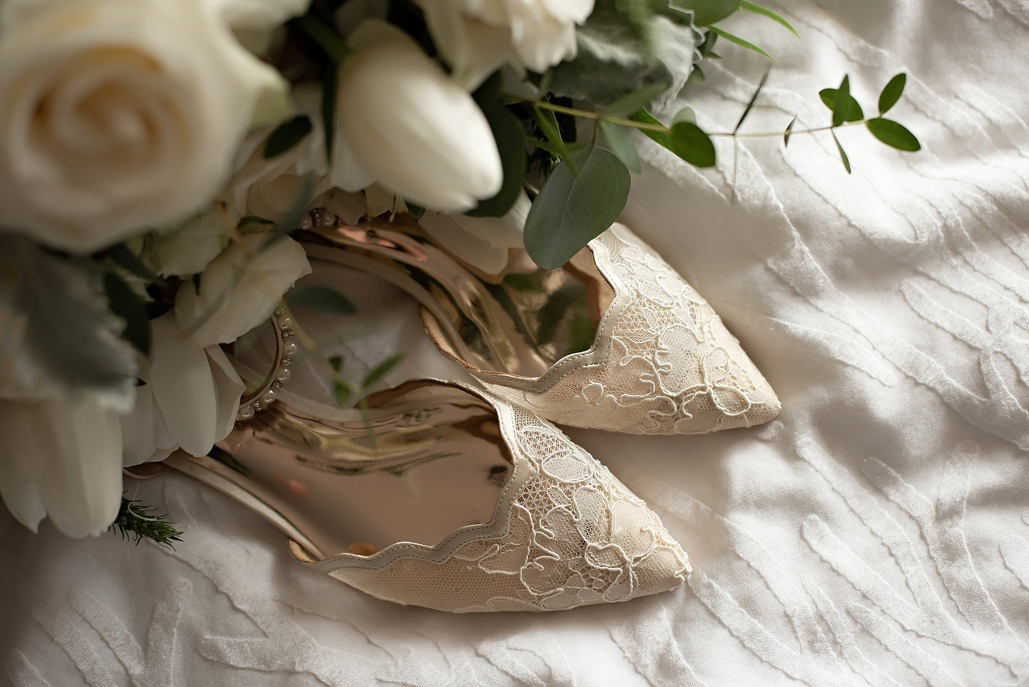 blush and cream wedding details