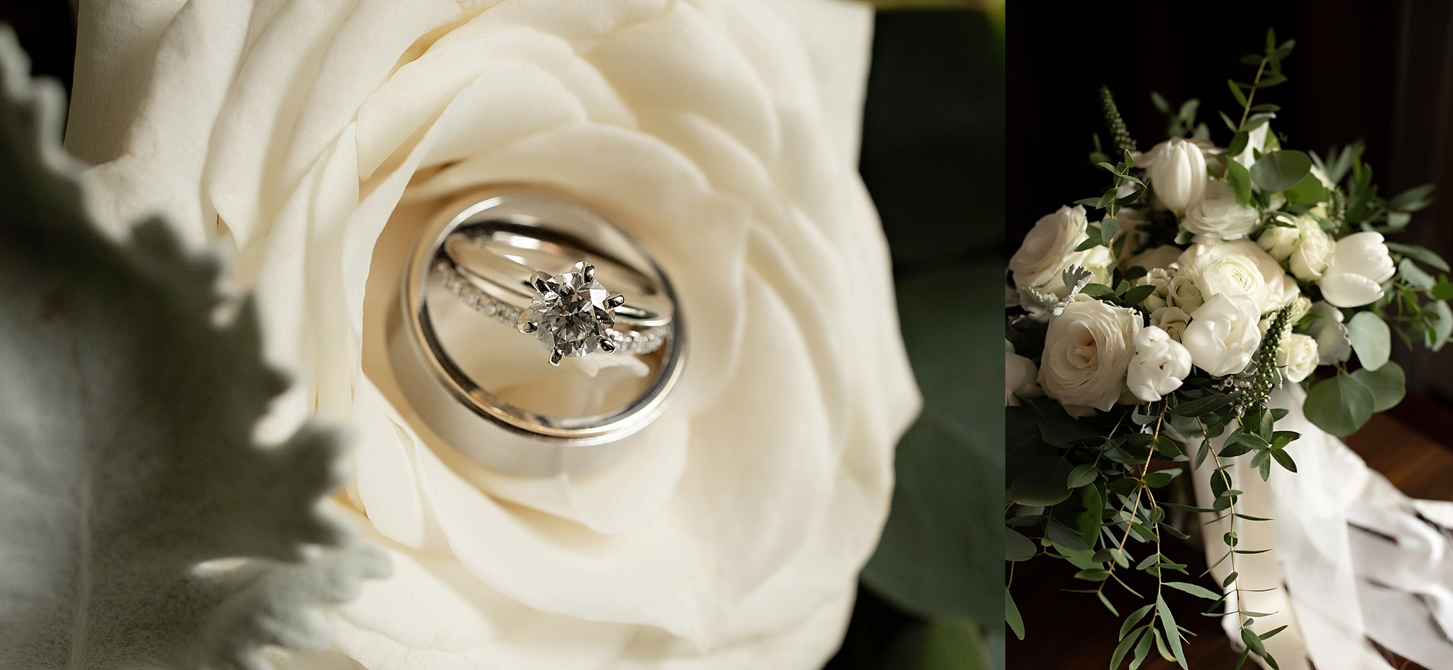 white bridal bouquet and solitaire wedding band set
