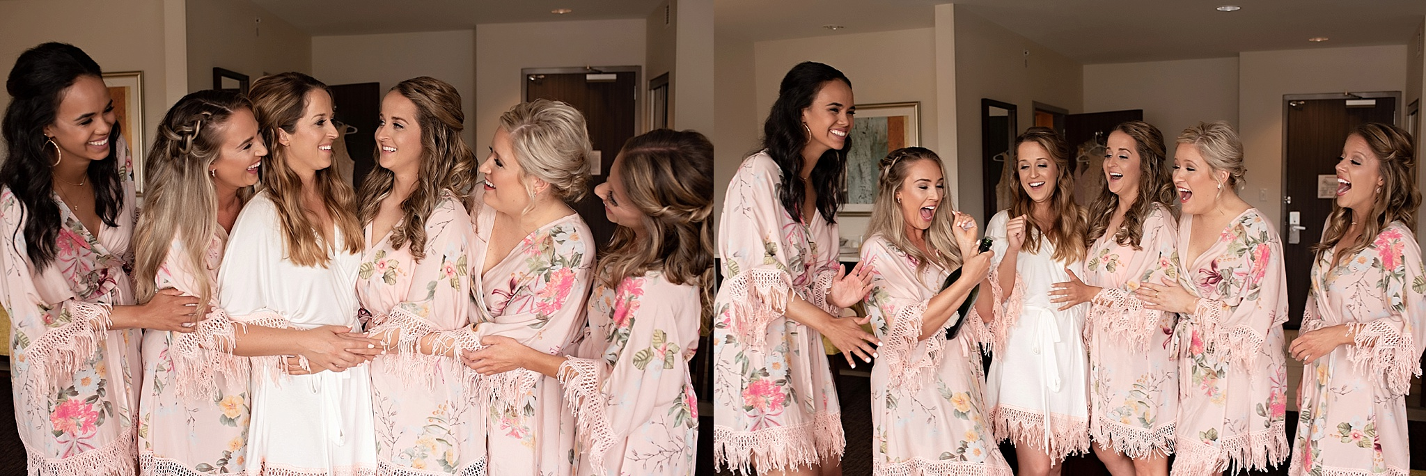 bridesmaids in pink robes with bride popping champagne