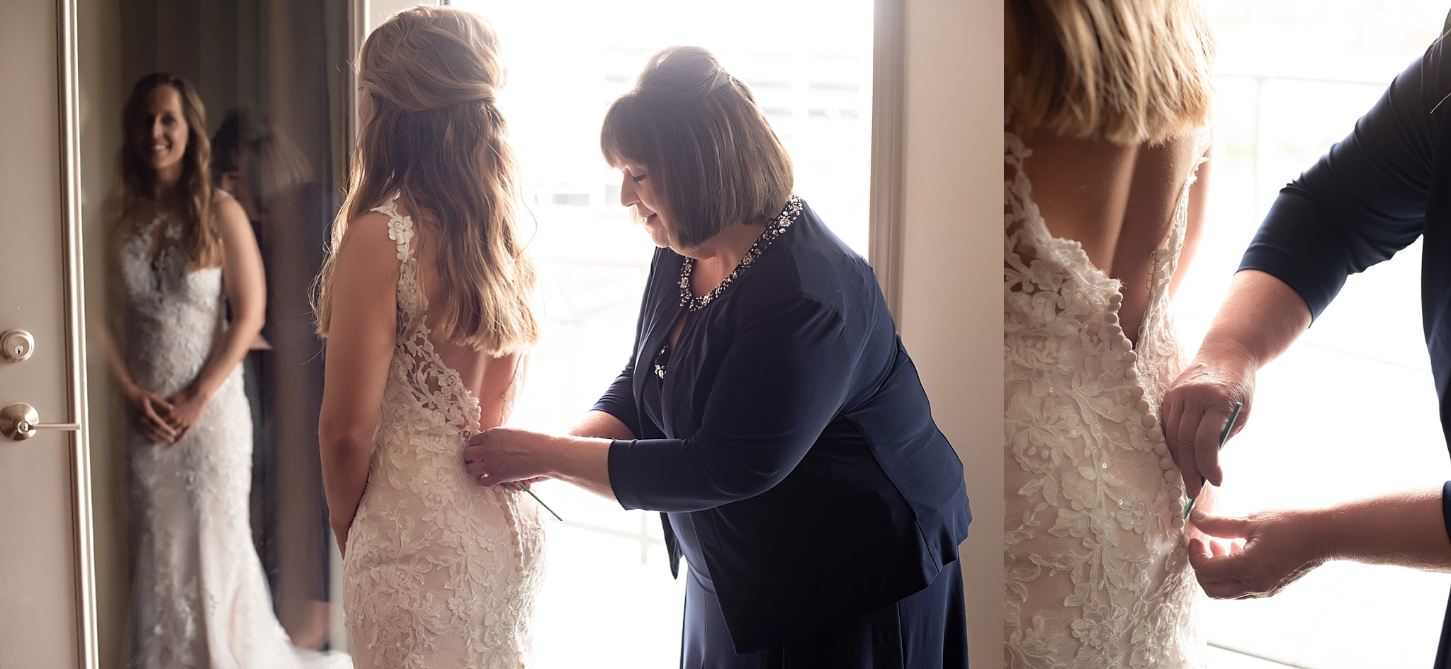 mom helps bride into her wedding dress