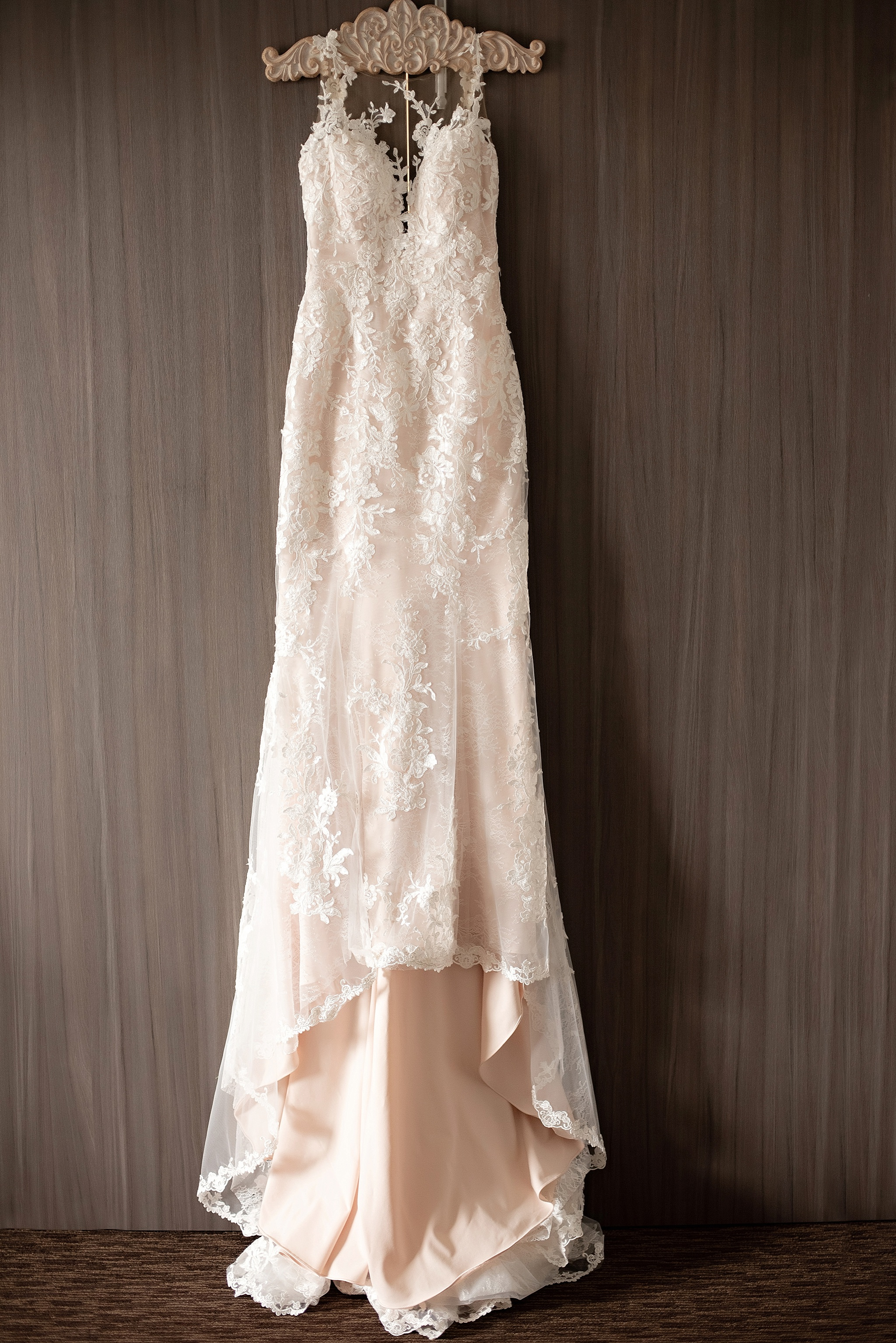 blush lace wedding dress with small train