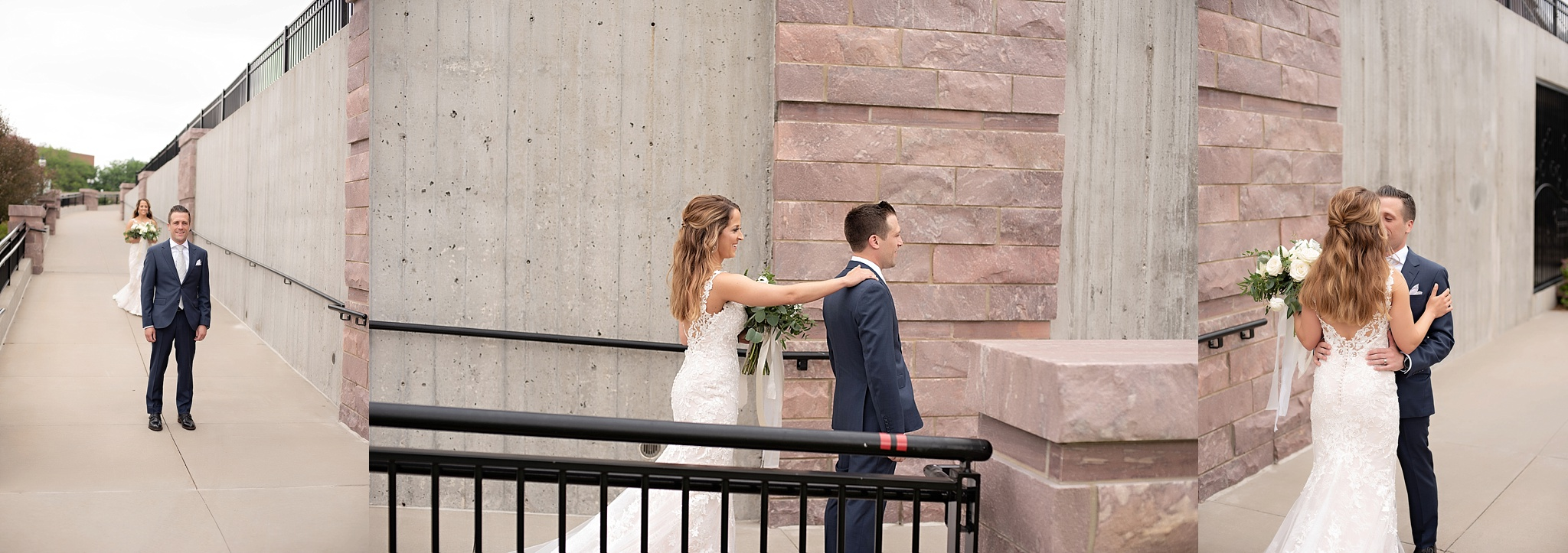 bride and groom share intimate first look downtown sioux falls