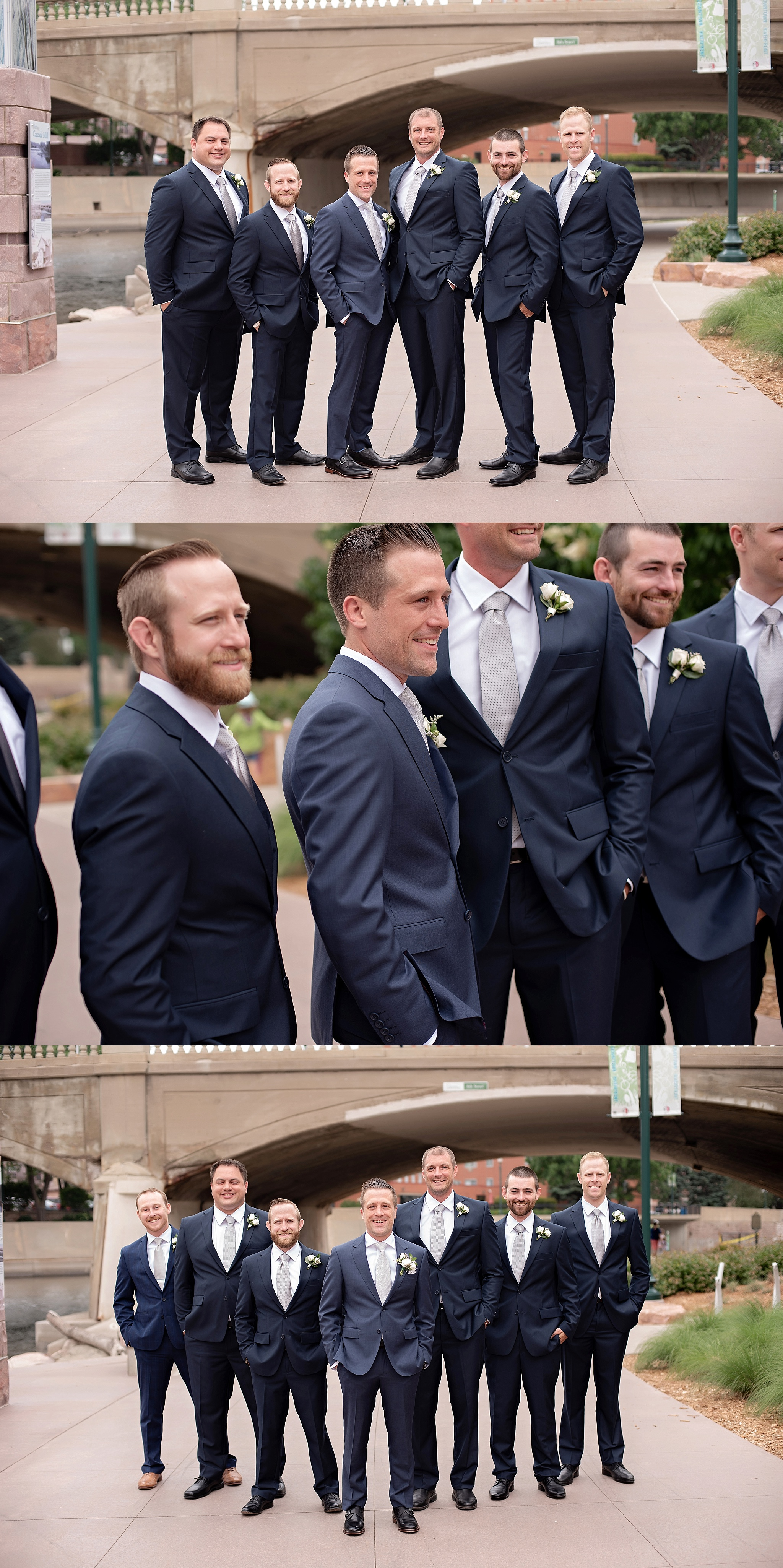 groomsmen in navy suits downtown sioux falls