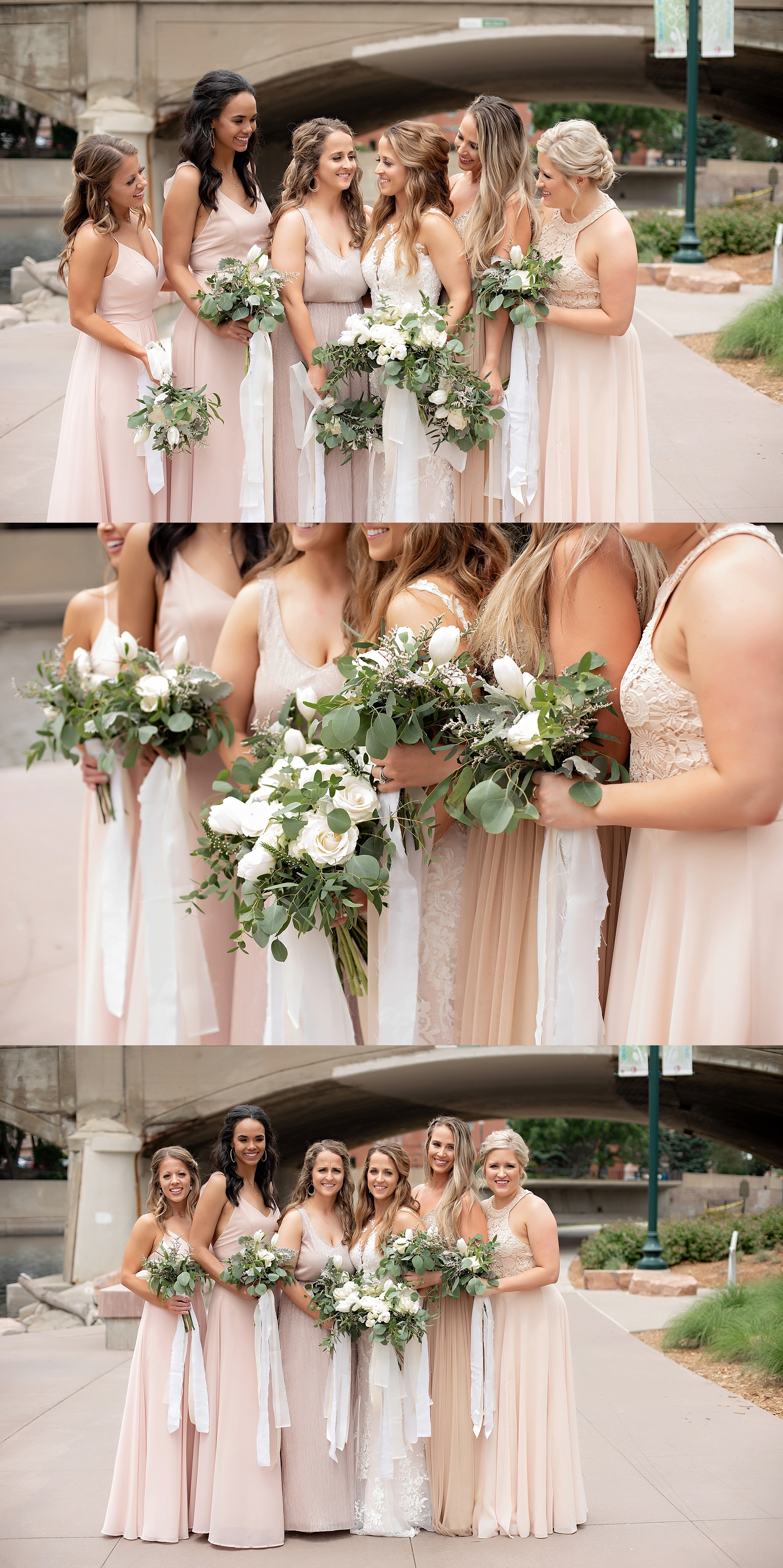 bridesmaids in coordinating blush and gold dresses