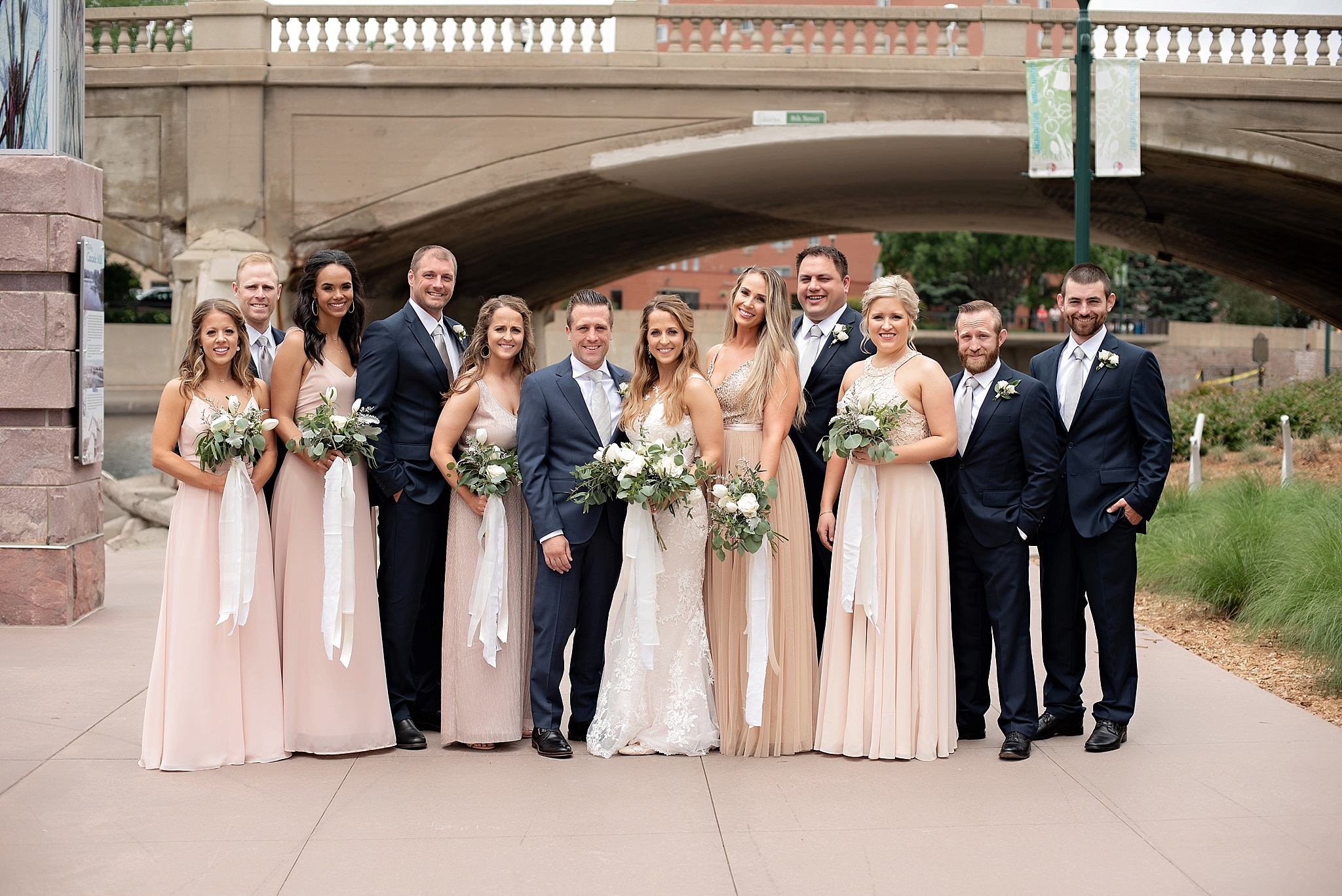 blush navy and white wedding party