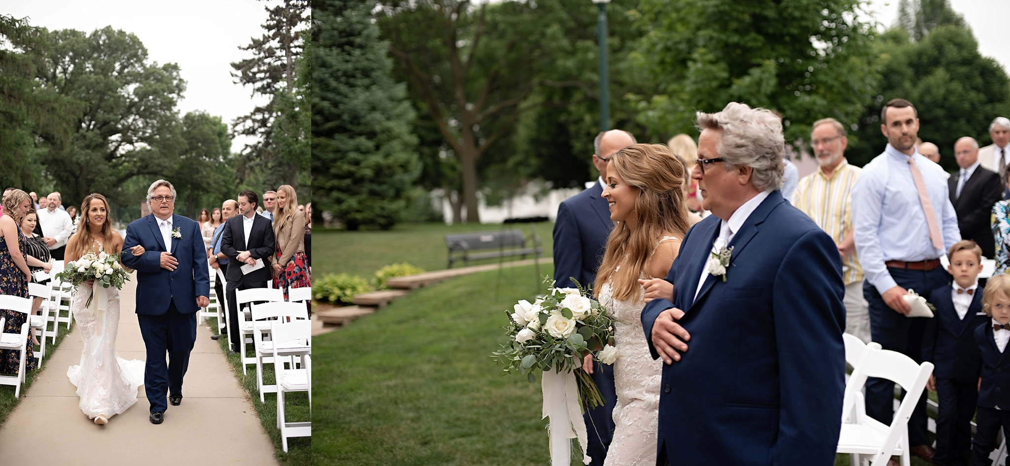 father of the bride walks the bride down the aisle in garden wedding